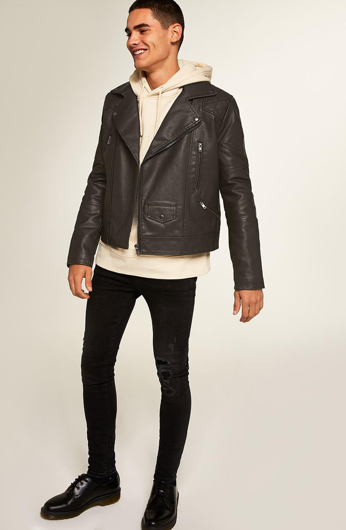 Classic Fit Faux Leather Biker Jacket,                             Alternate thumbnail 6, color,                             BLACK