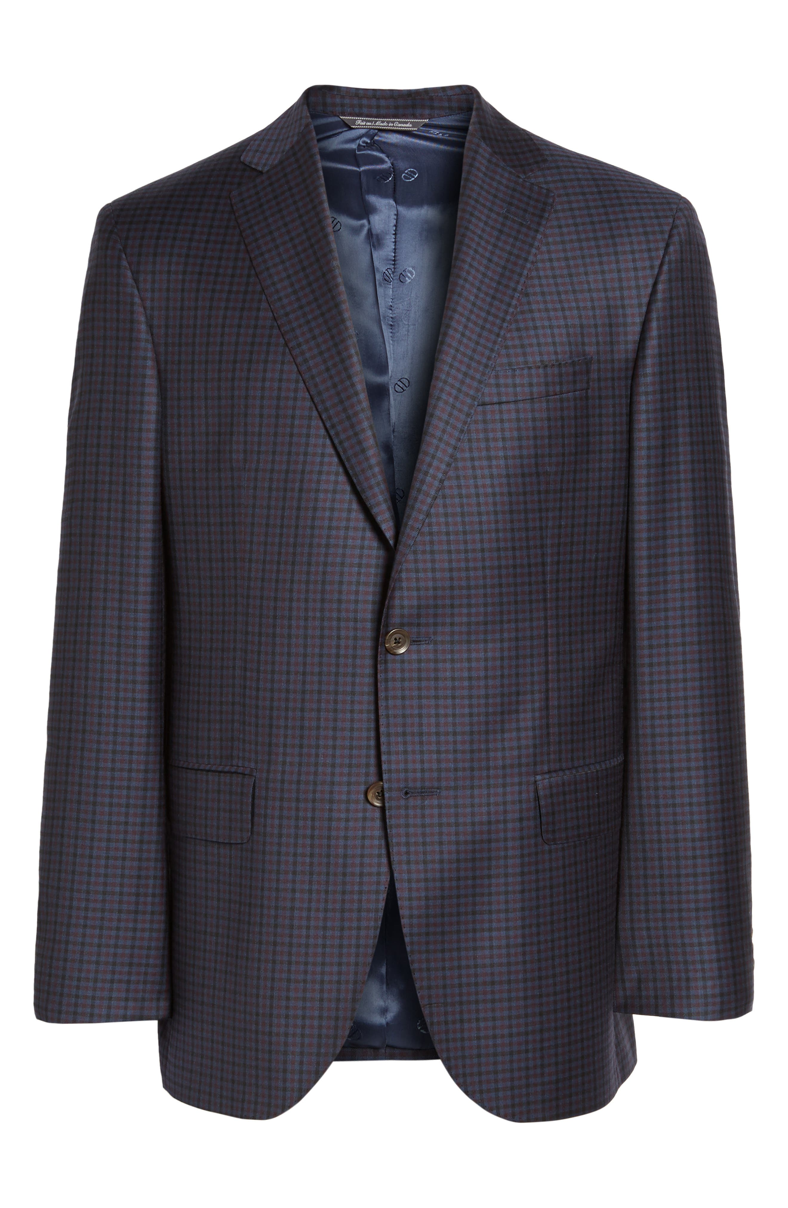 Connor Classic Fit Check Wool Sport Coat,                             Alternate thumbnail 5, color,                             400