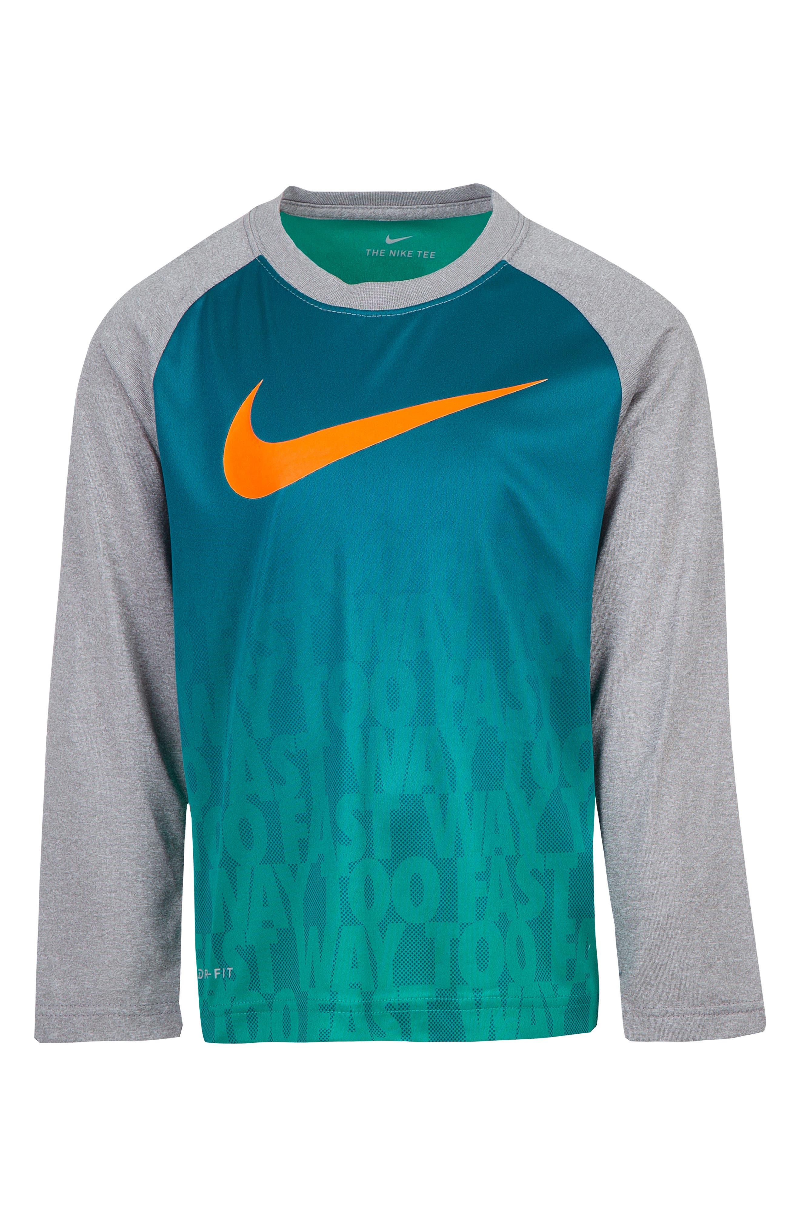 Dry Way Too Fast Raglan T-Shirt,                         Main,                         color, NEPTUNE GREEN