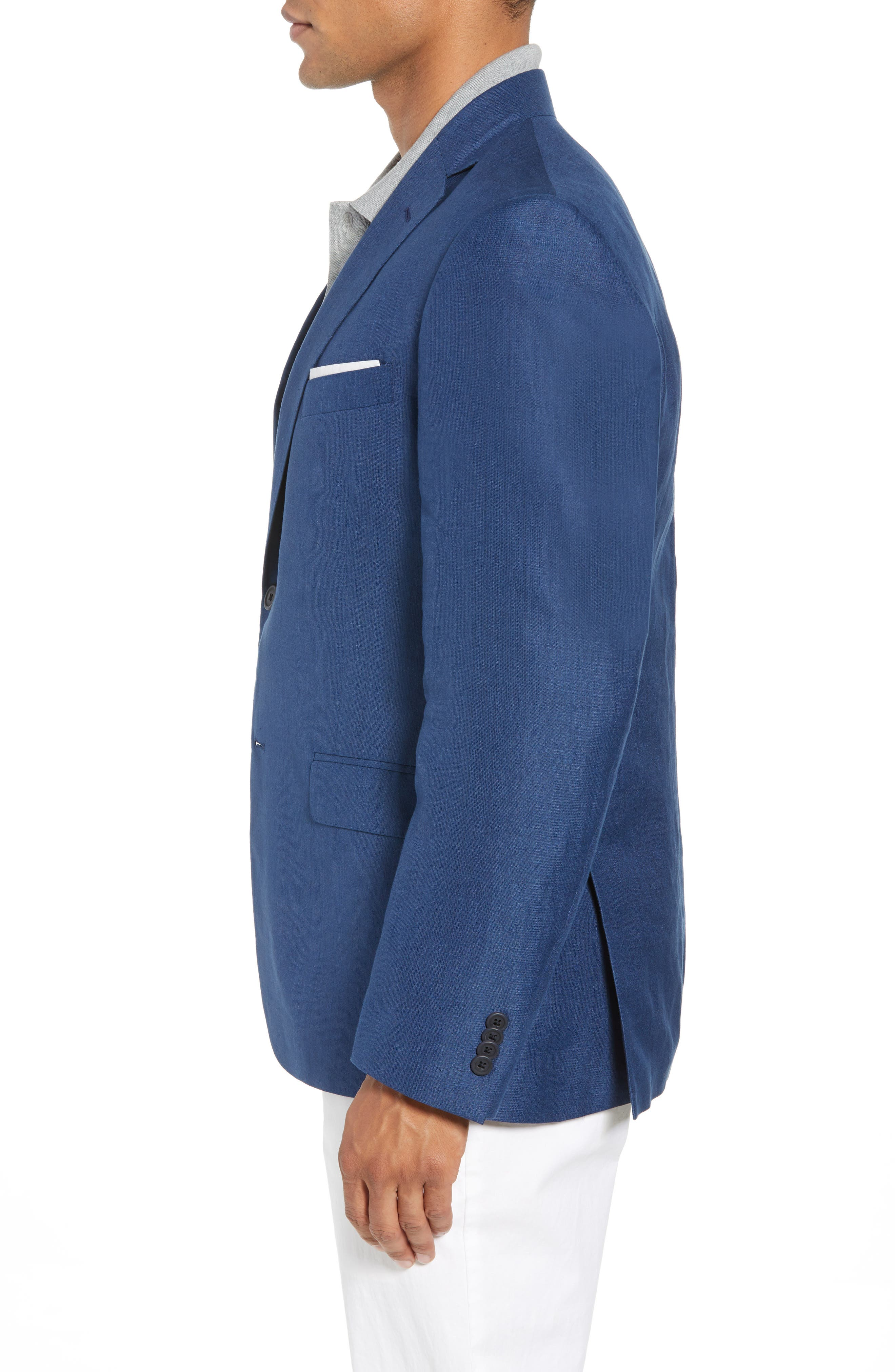 Traditional Fit Linen & Silk Blazer,                             Alternate thumbnail 3, color,                             420