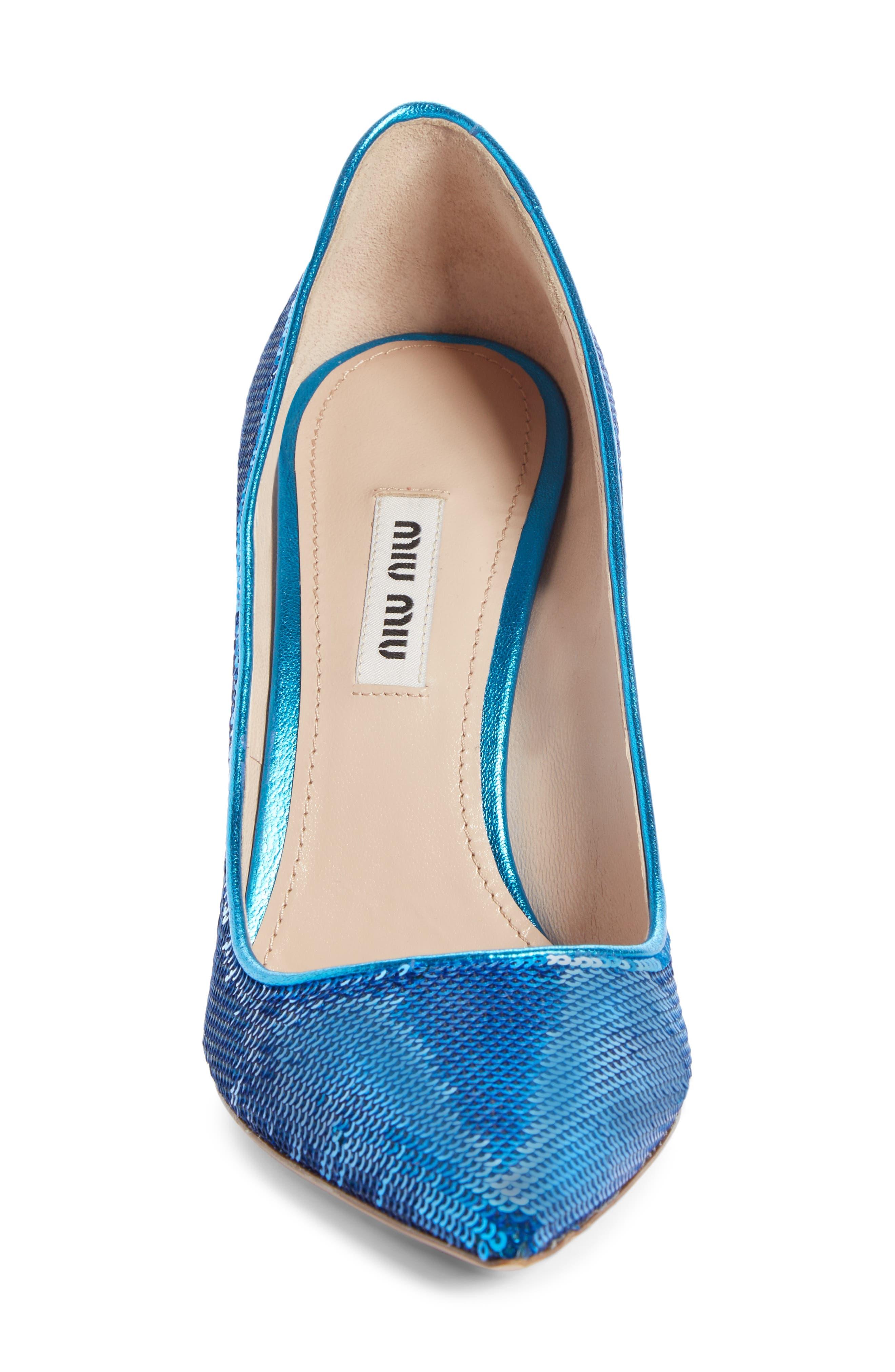 Sequin Pin Heel Pump,                             Alternate thumbnail 4, color,                             MAREA BLUE