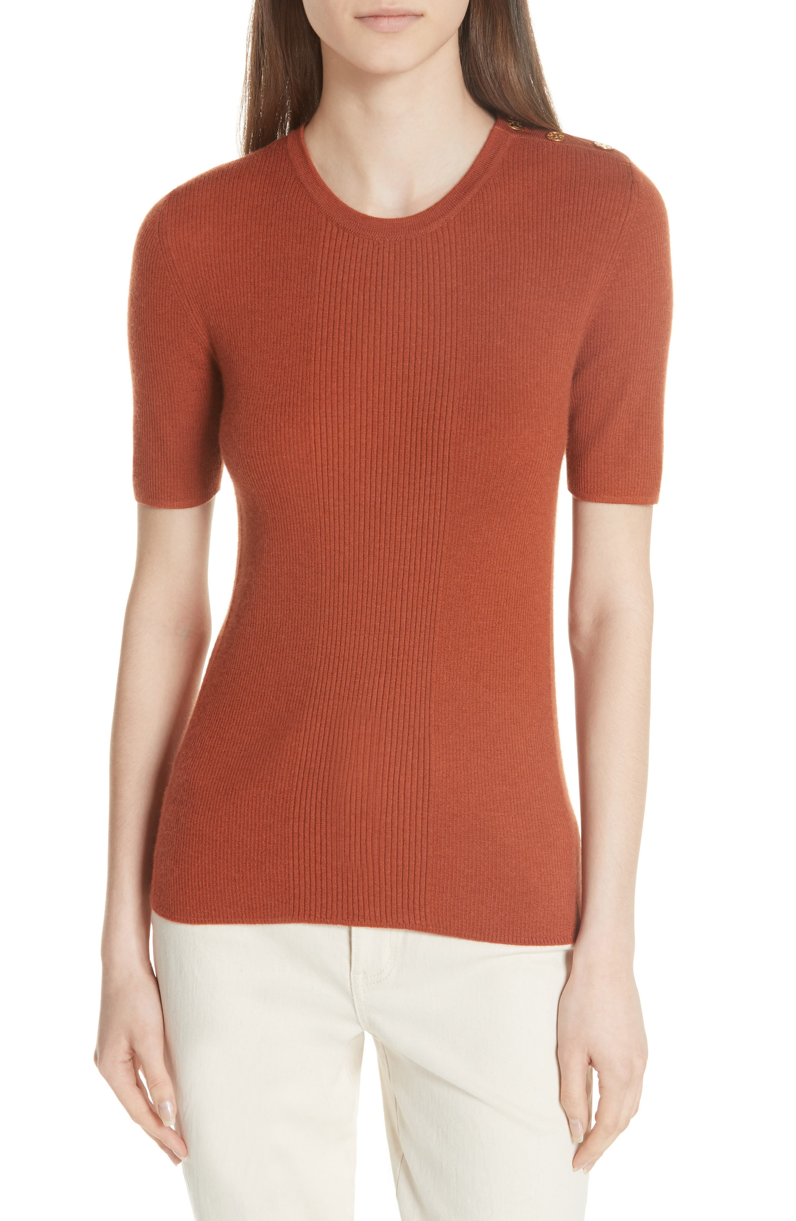 Taylor Ribbed Cashmere Sweater,                         Main,                         color, DESERT SPICE