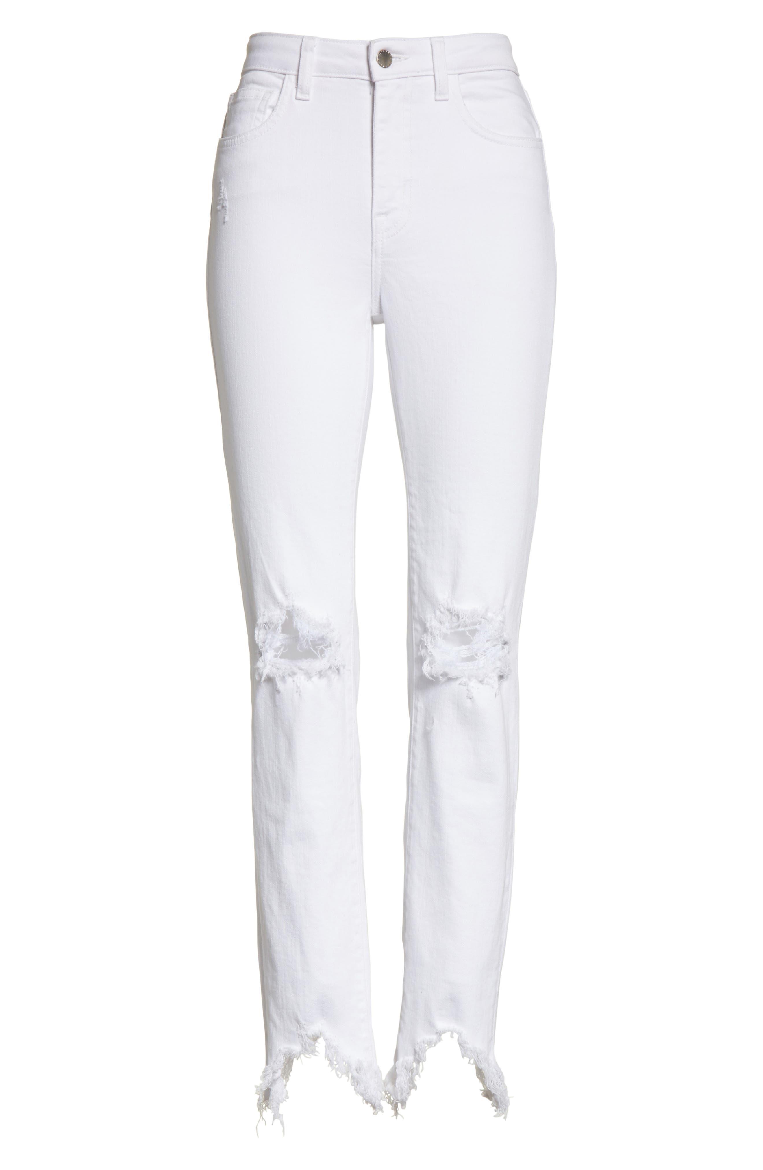 Highline Ripped Skinny Jeans,                             Alternate thumbnail 6, color,                             100