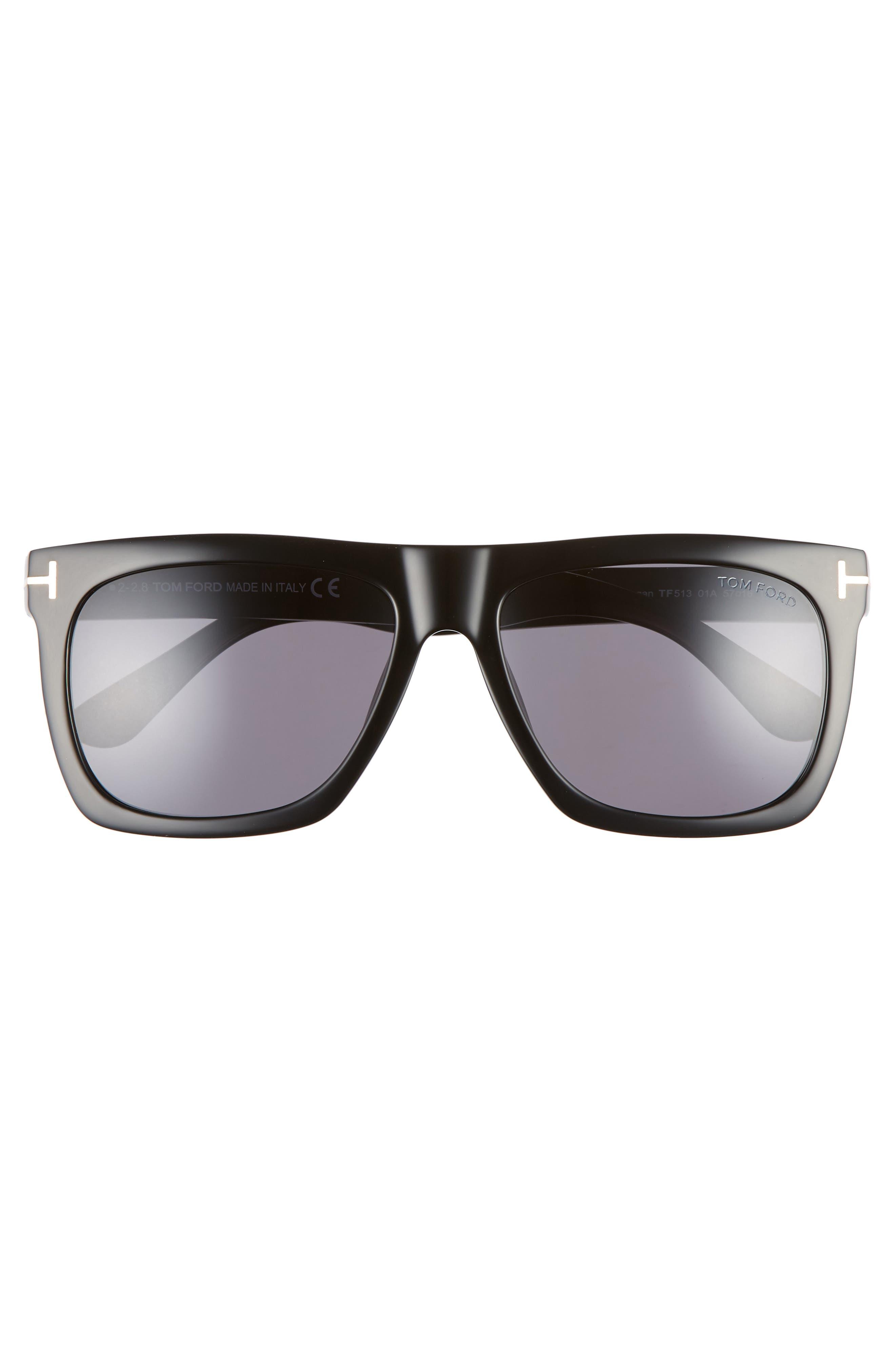 Morgan 57mm Sunglasses,                             Alternate thumbnail 3, color,                             SHINY BLACK / SMOKE