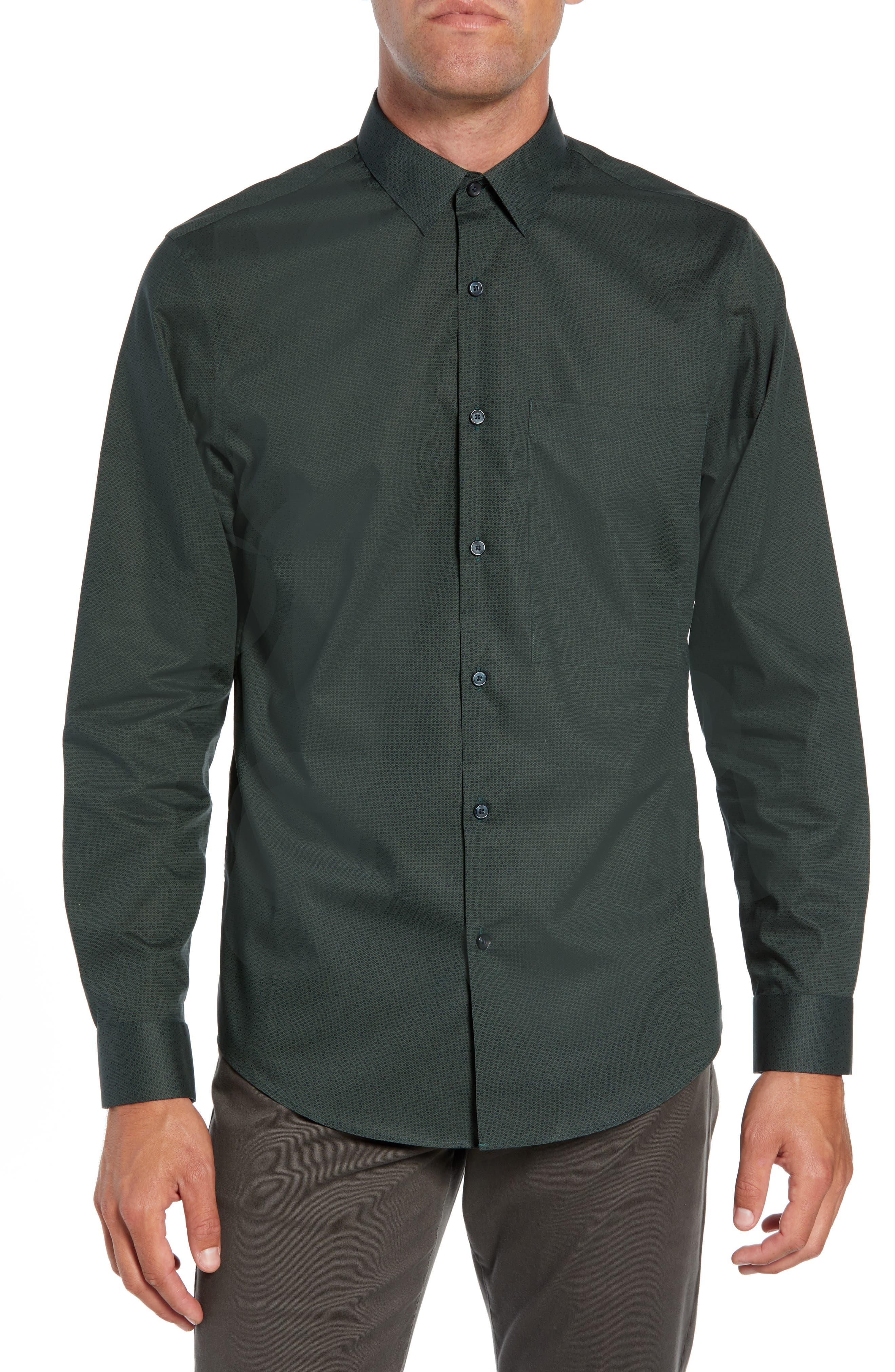 Calibrate Slim Fit Dot Non Iron Sport Shirt, Green