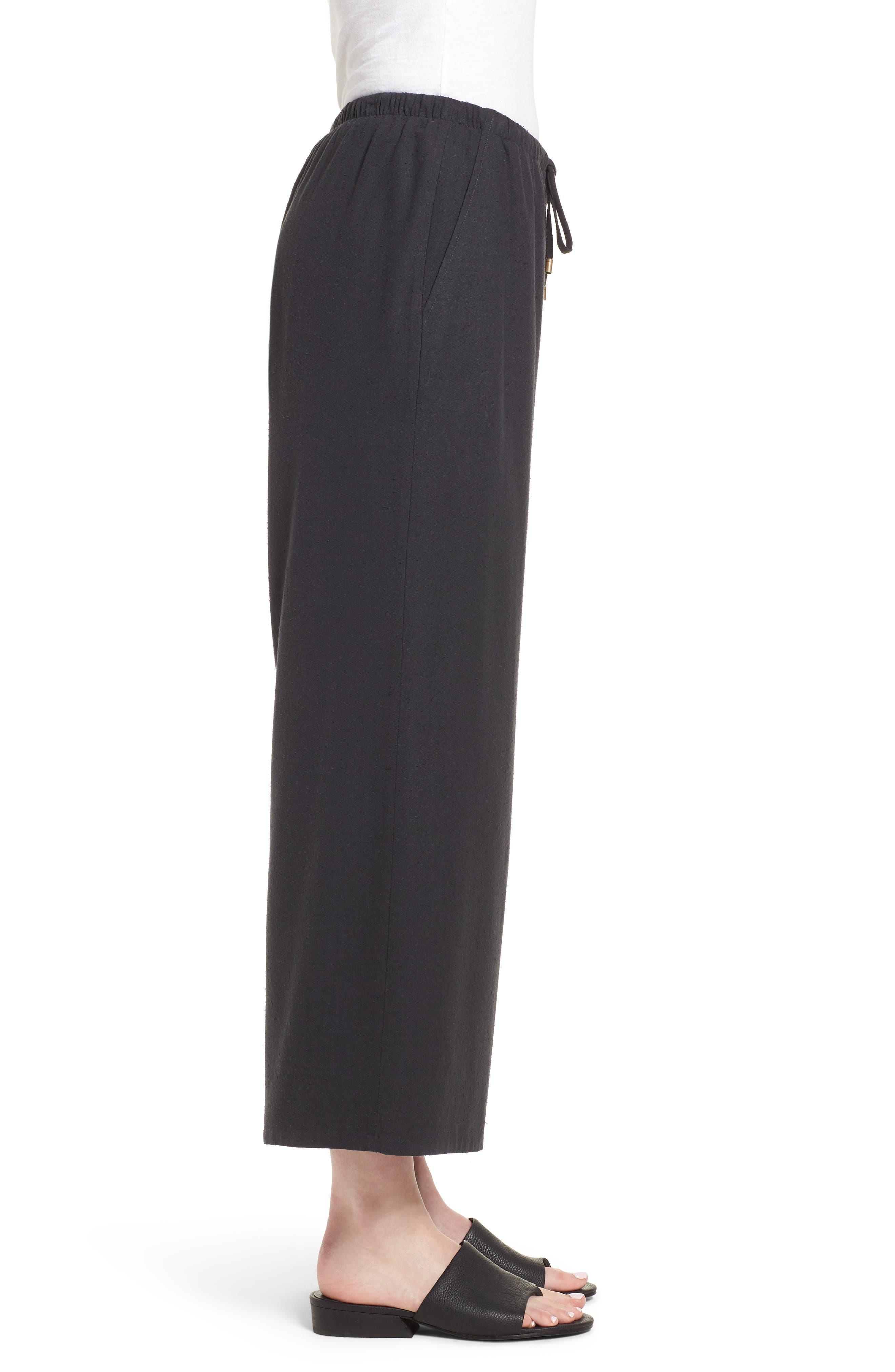 Silk Noil Wide Leg Pants,                             Alternate thumbnail 3, color,                             025
