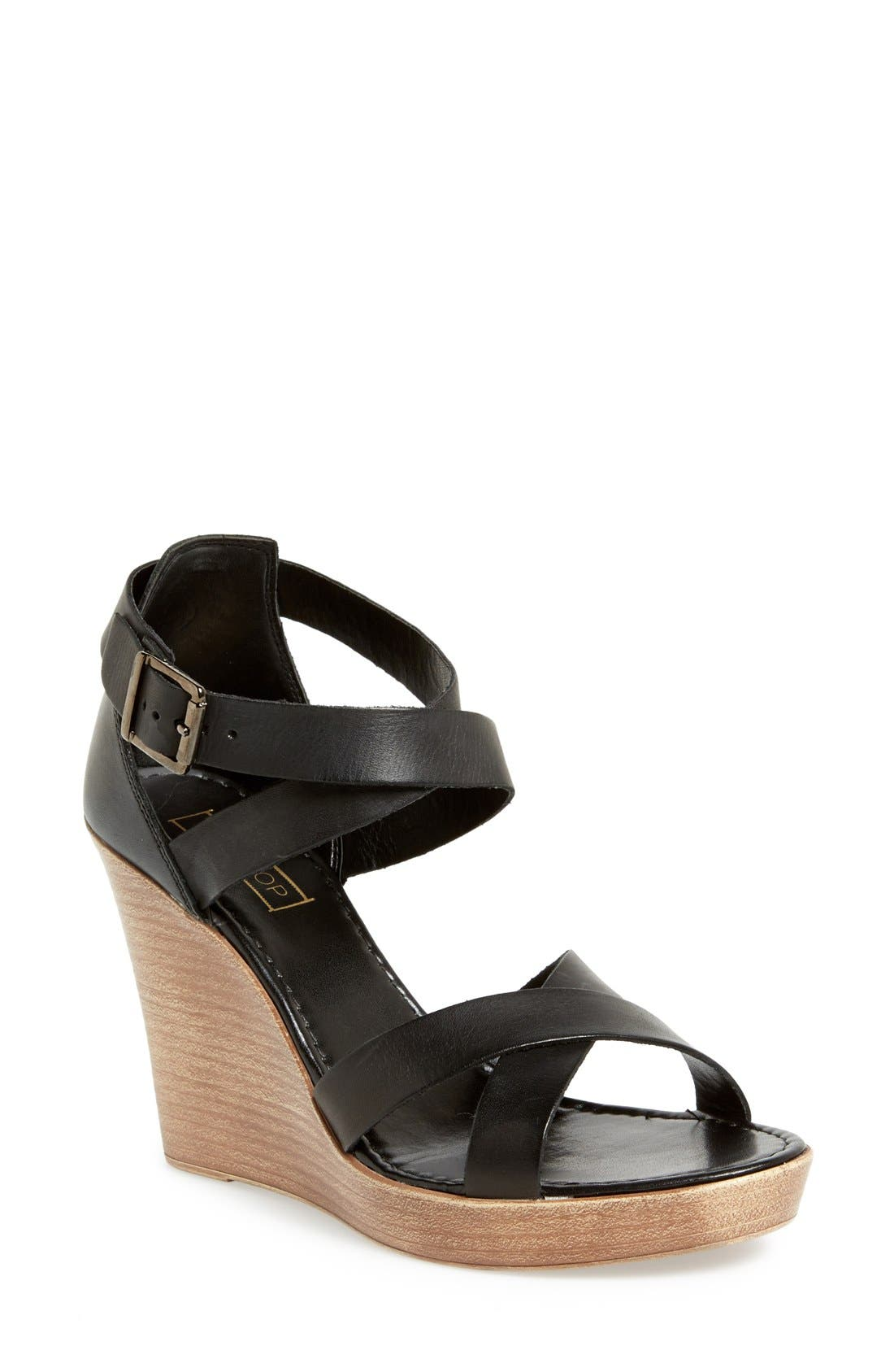'Wizard' Wedge Sandal,                         Main,                         color, 001