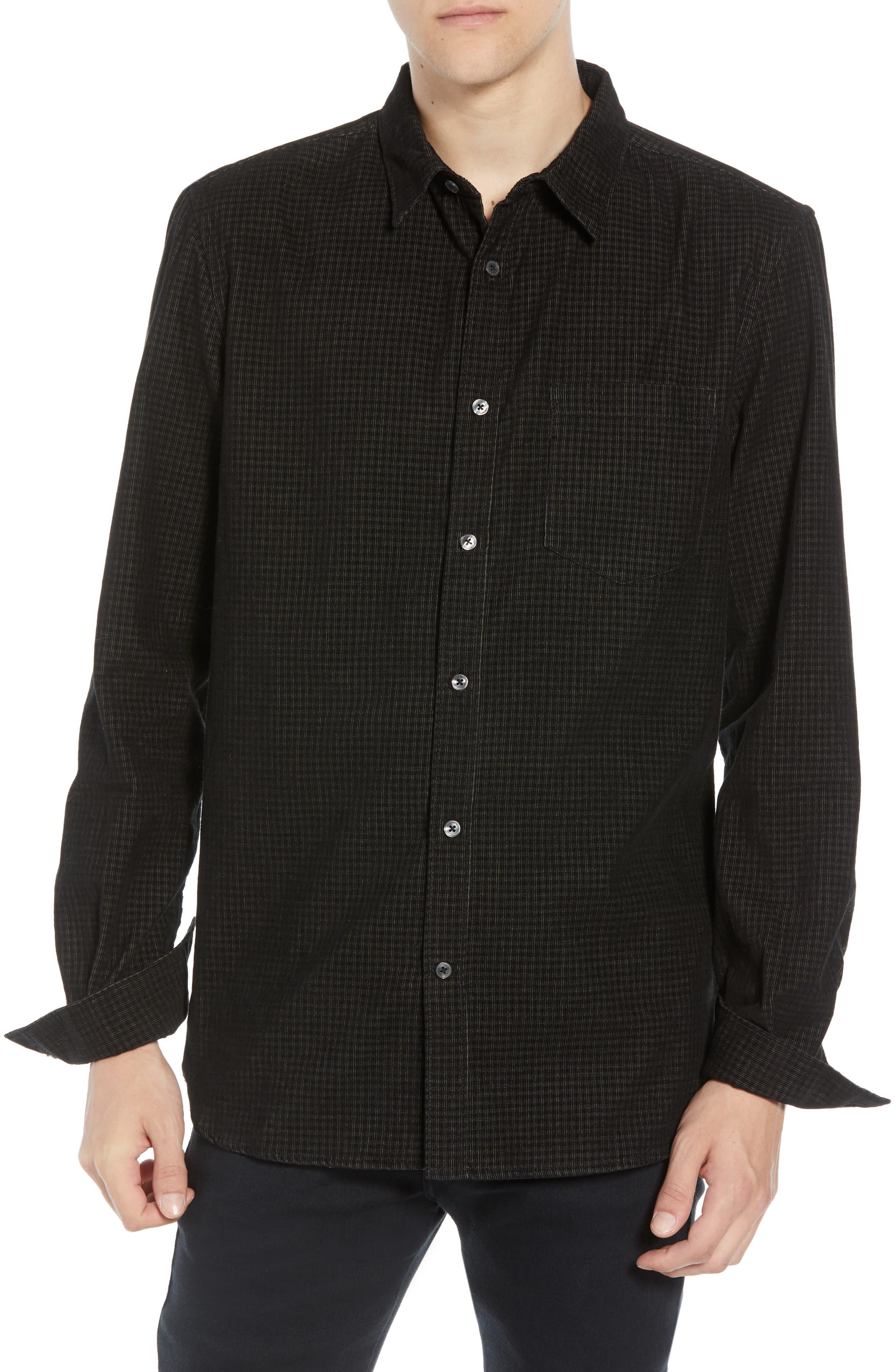 Regular Fit Mini Check Corduroy Shirt,                             Main thumbnail 1, color,                             BLACK IRIS