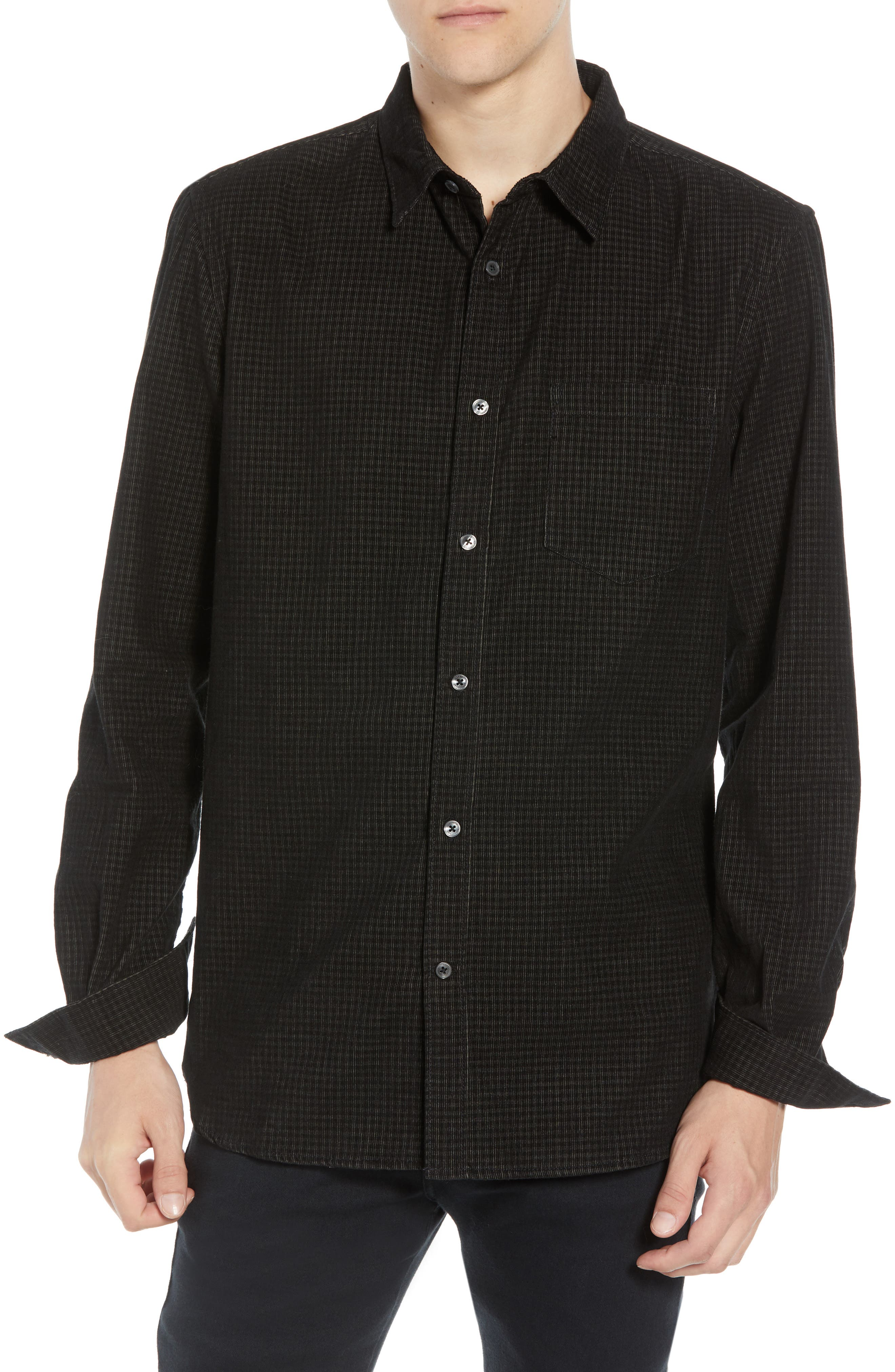 Regular Fit Mini Check Corduroy Shirt,                         Main,                         color, BLACK IRIS