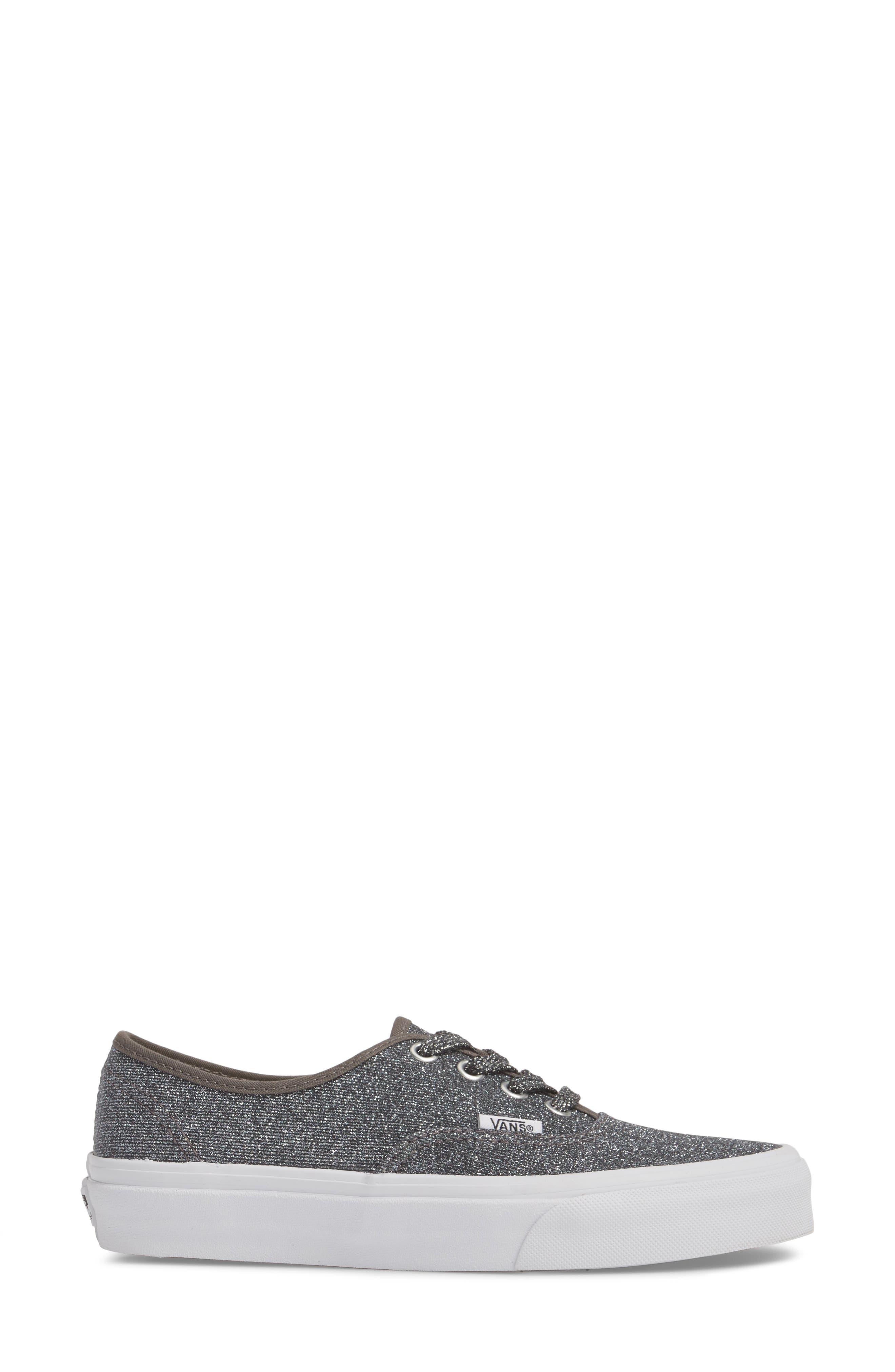 UA Authentic Lurex Sneaker,                             Alternate thumbnail 3, color,                             BLACK/ TRUE WHITE GLITTER