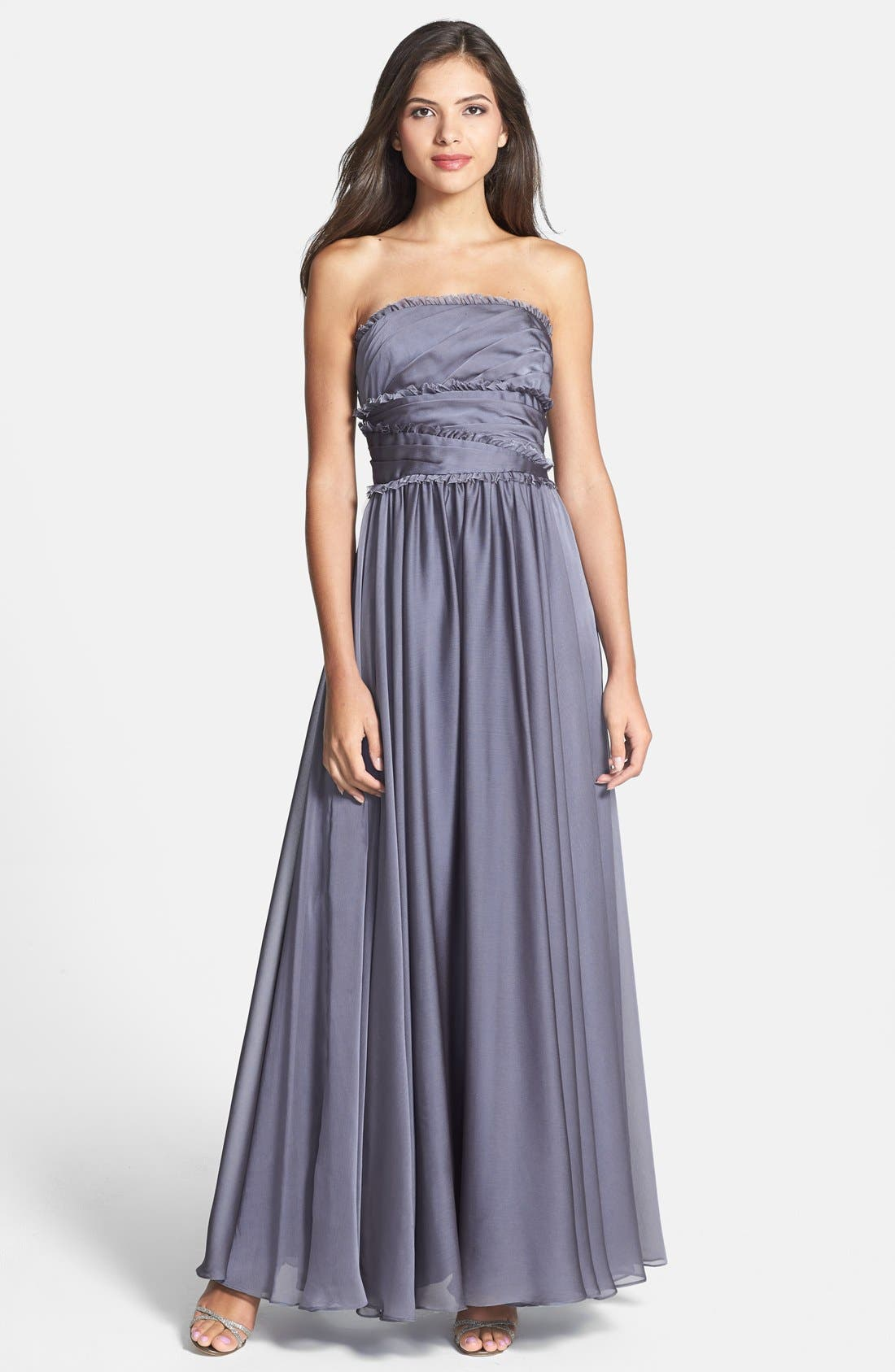 ML Monique Lhuillier Bridesmaids Strapless Chiffon Gown,                             Main thumbnail 2, color,