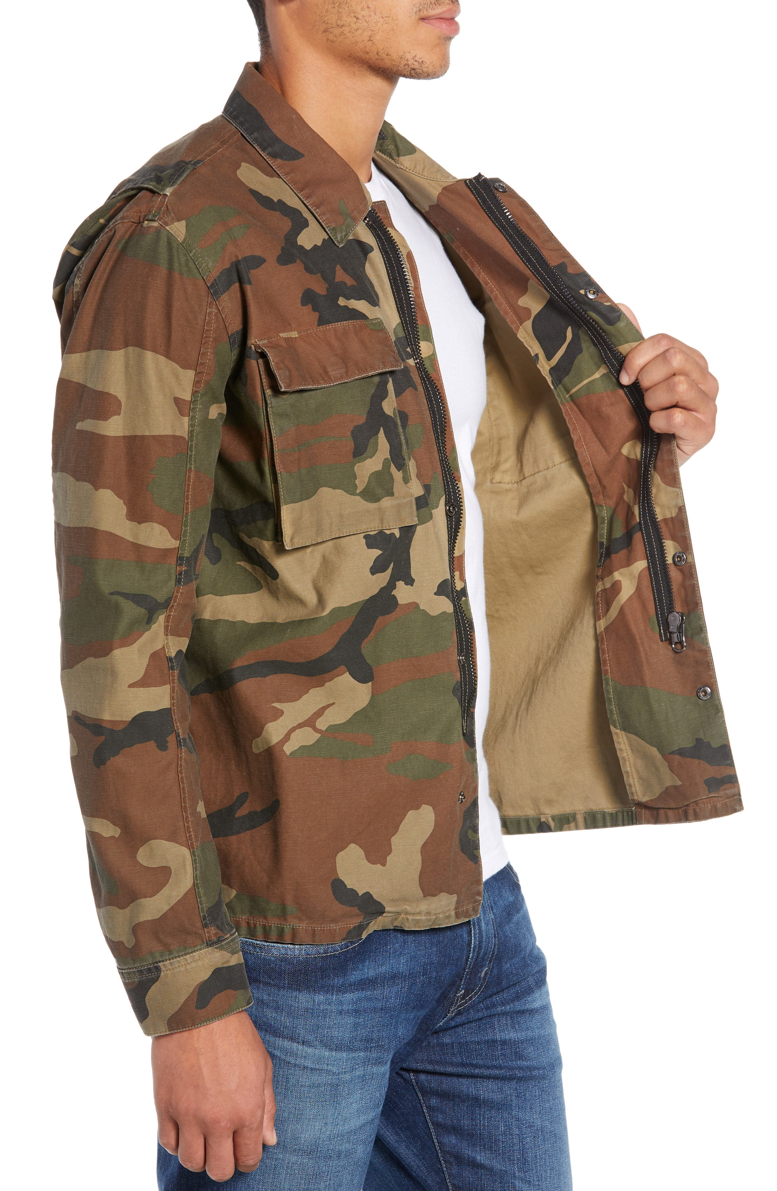 Wendell Slim Fit Camo Shirt Jacket,                             Alternate thumbnail 3, color,                             340