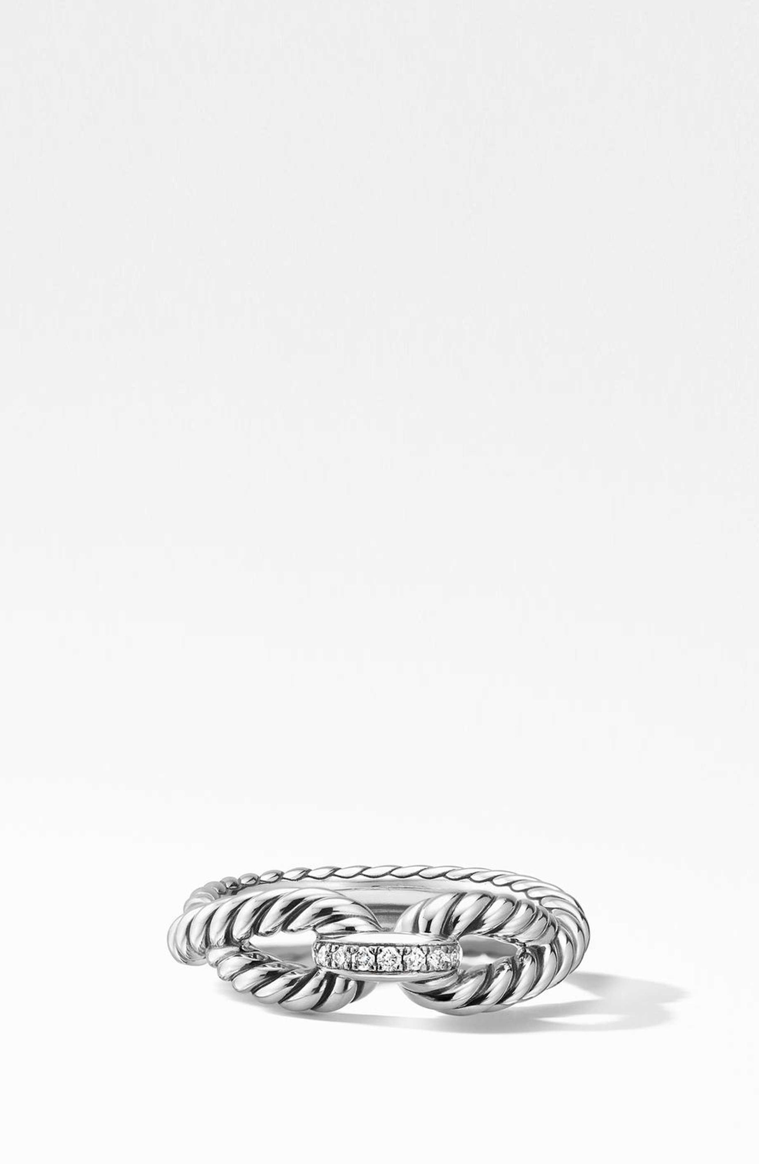 Cable Loop Ring with Diamonds,                             Main thumbnail 1, color,                             STERLING SILVER/ DIAMOND
