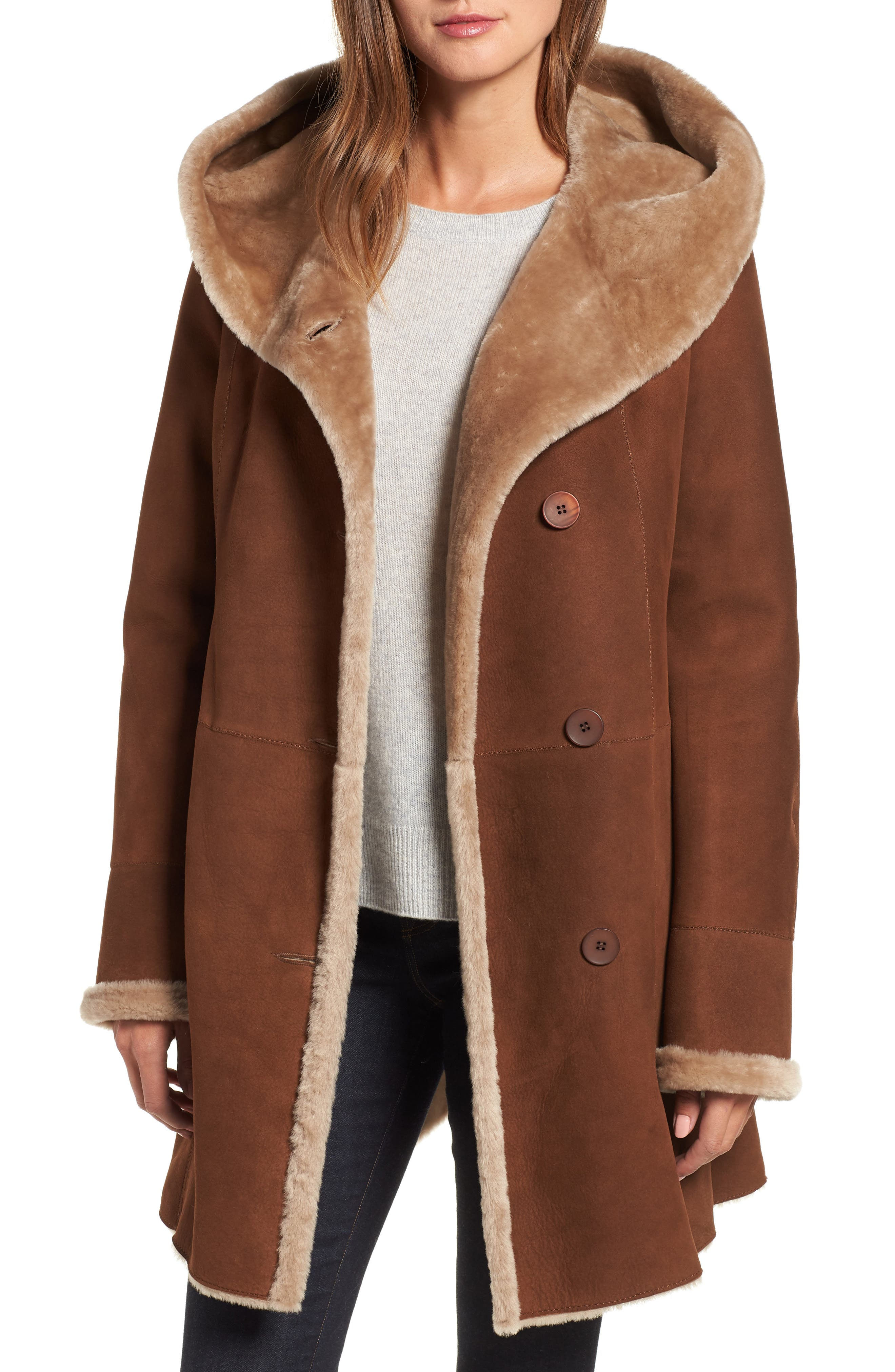 Hiso Hooded Merino Shearling Coat, Brown