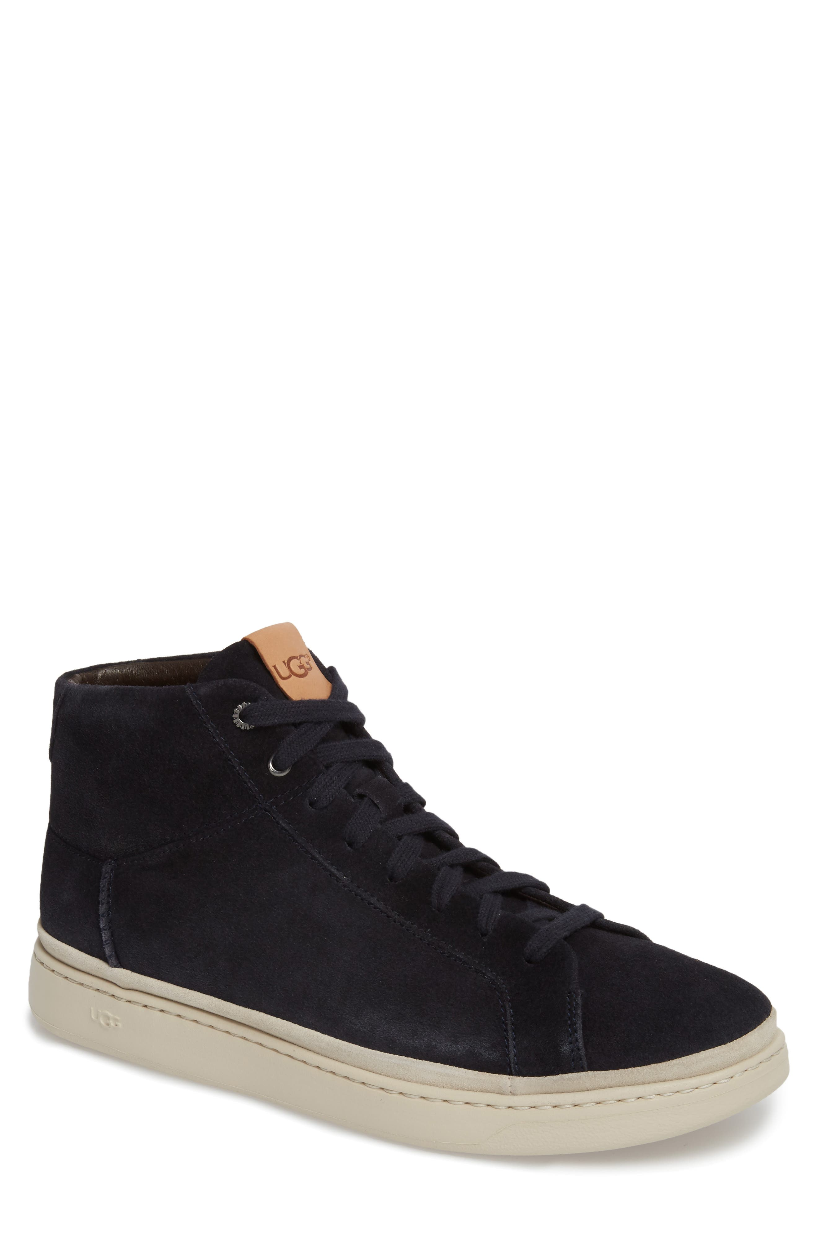 Cali High Top Sneaker,                         Main,                         color, NAVY LEATHER