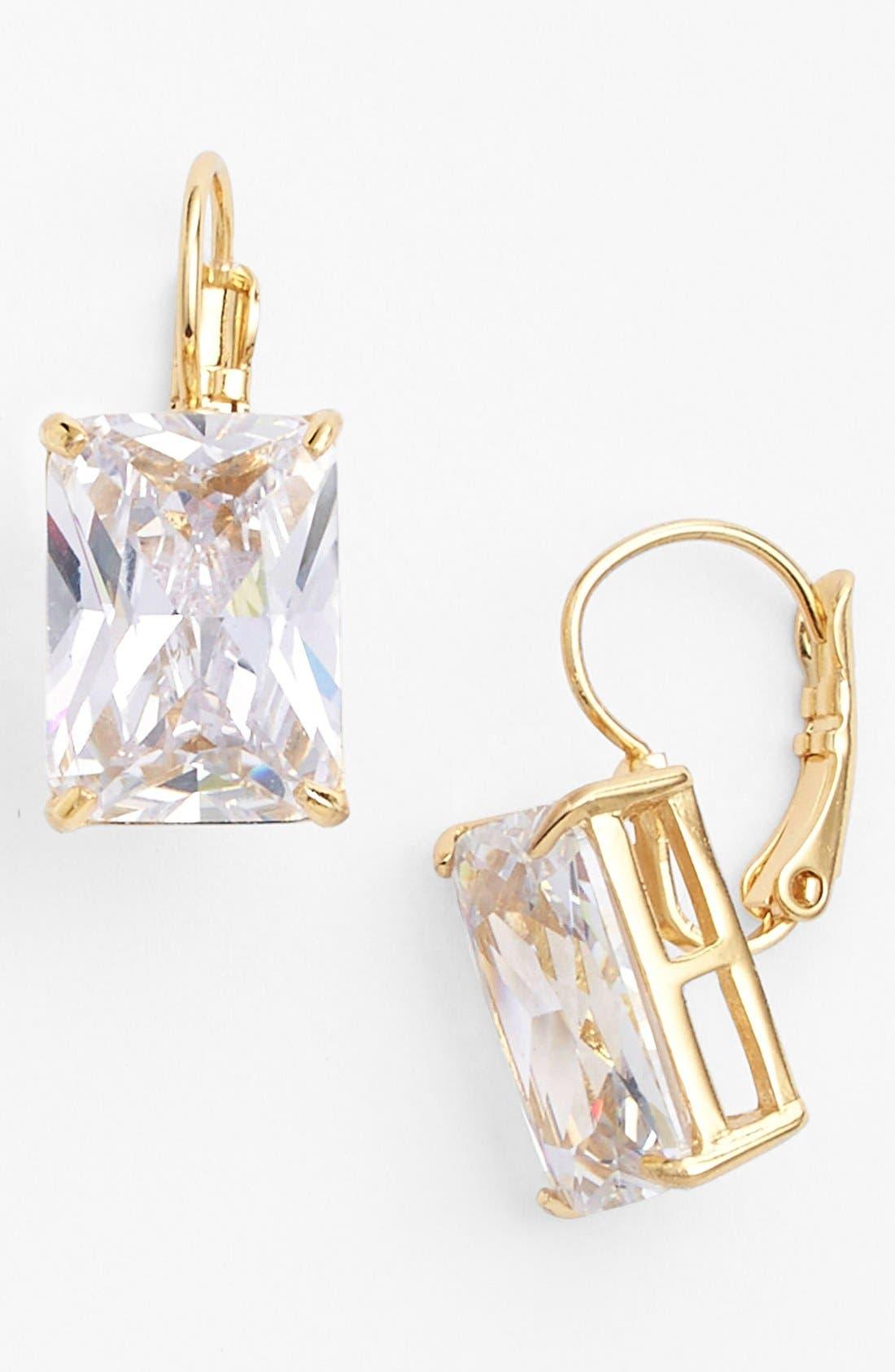 'draped jewels' emerald cut drop earrings, Main, color, 000