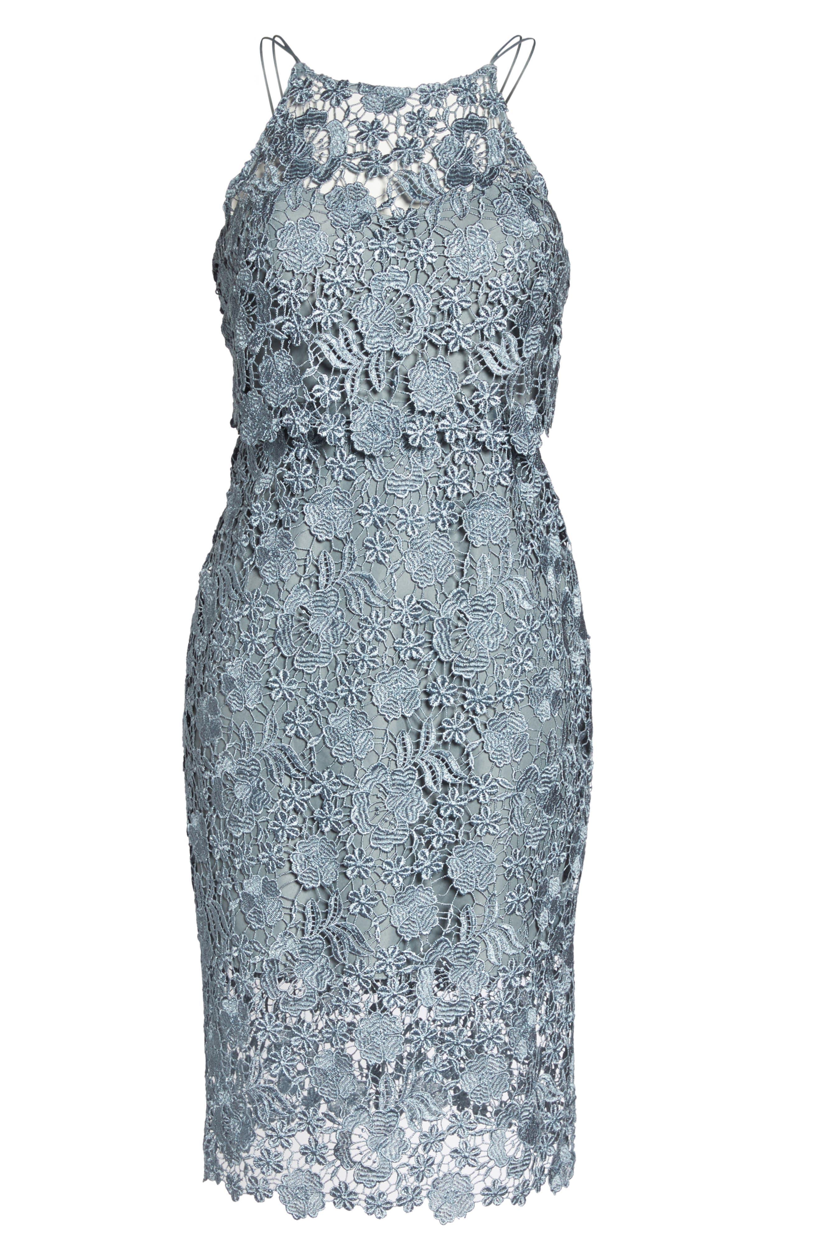 Freya Lace Sheath Dress,                             Alternate thumbnail 6, color,                             MAYAN BLUE