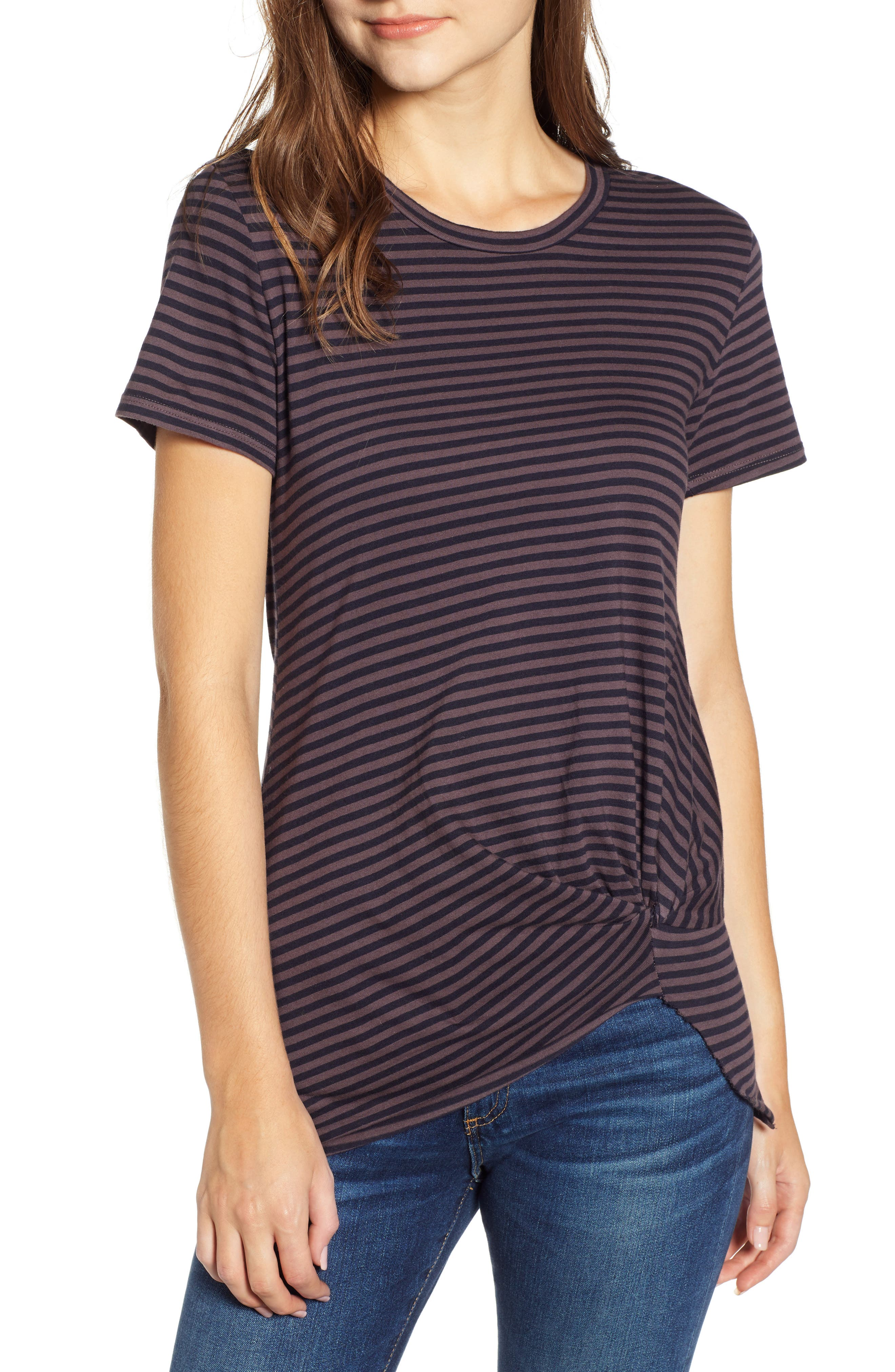 Stripe Twist Tee,                             Main thumbnail 1, color,                             TAUPE