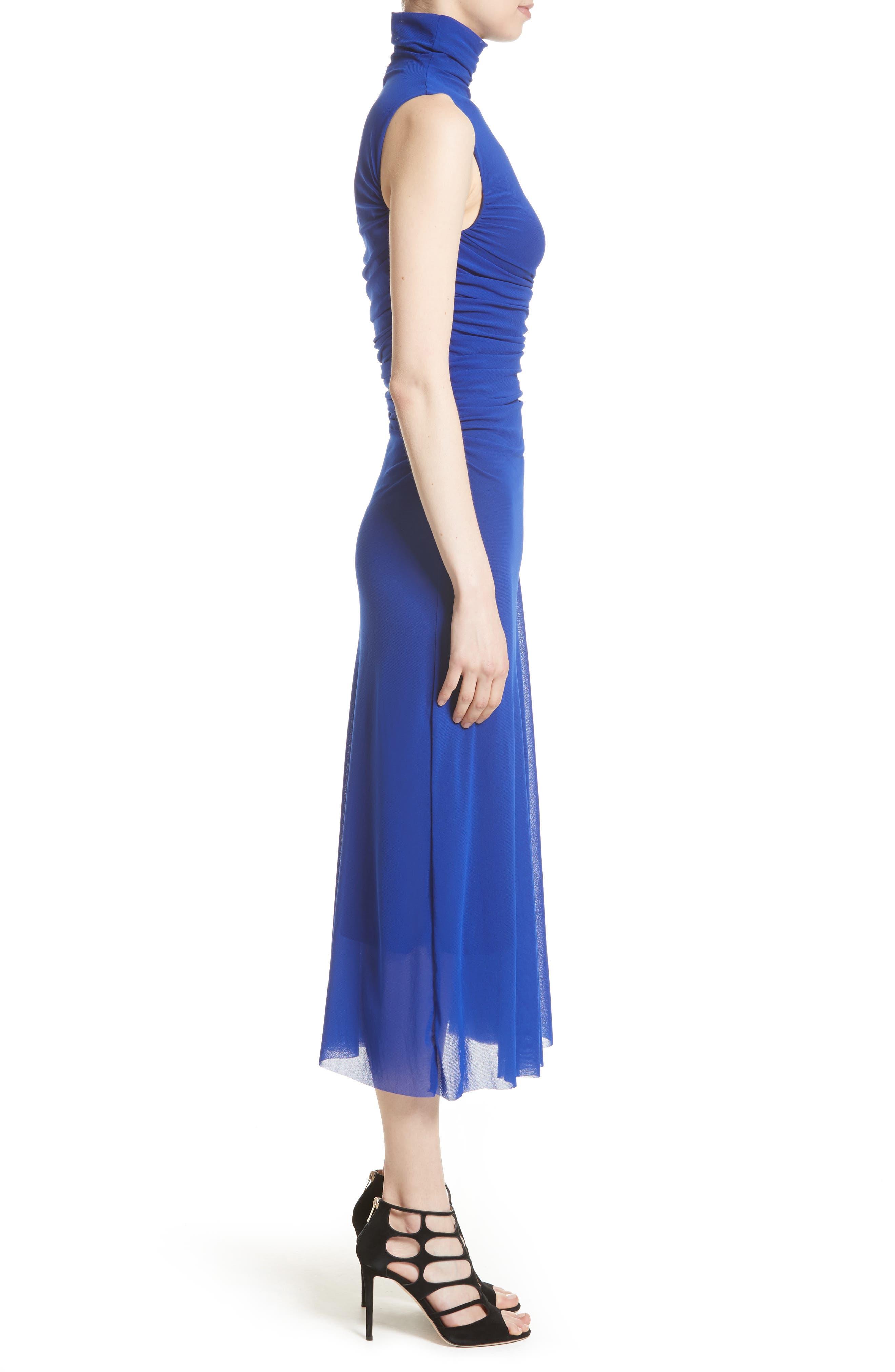Tulle Turtleneck Midi Dress,                             Alternate thumbnail 3, color,                             434
