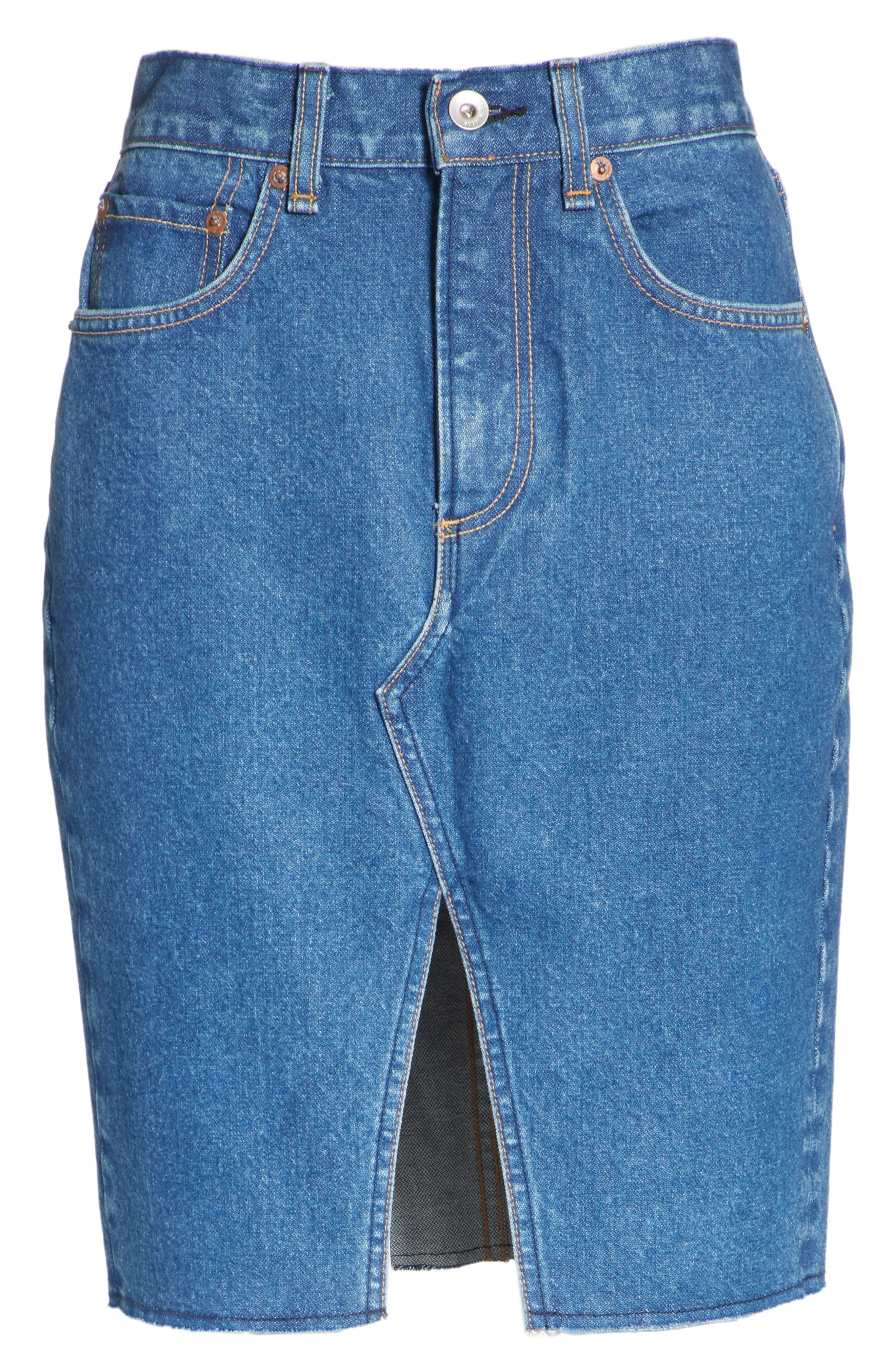 Suji Denim Skirt,                             Alternate thumbnail 6, color,                             401