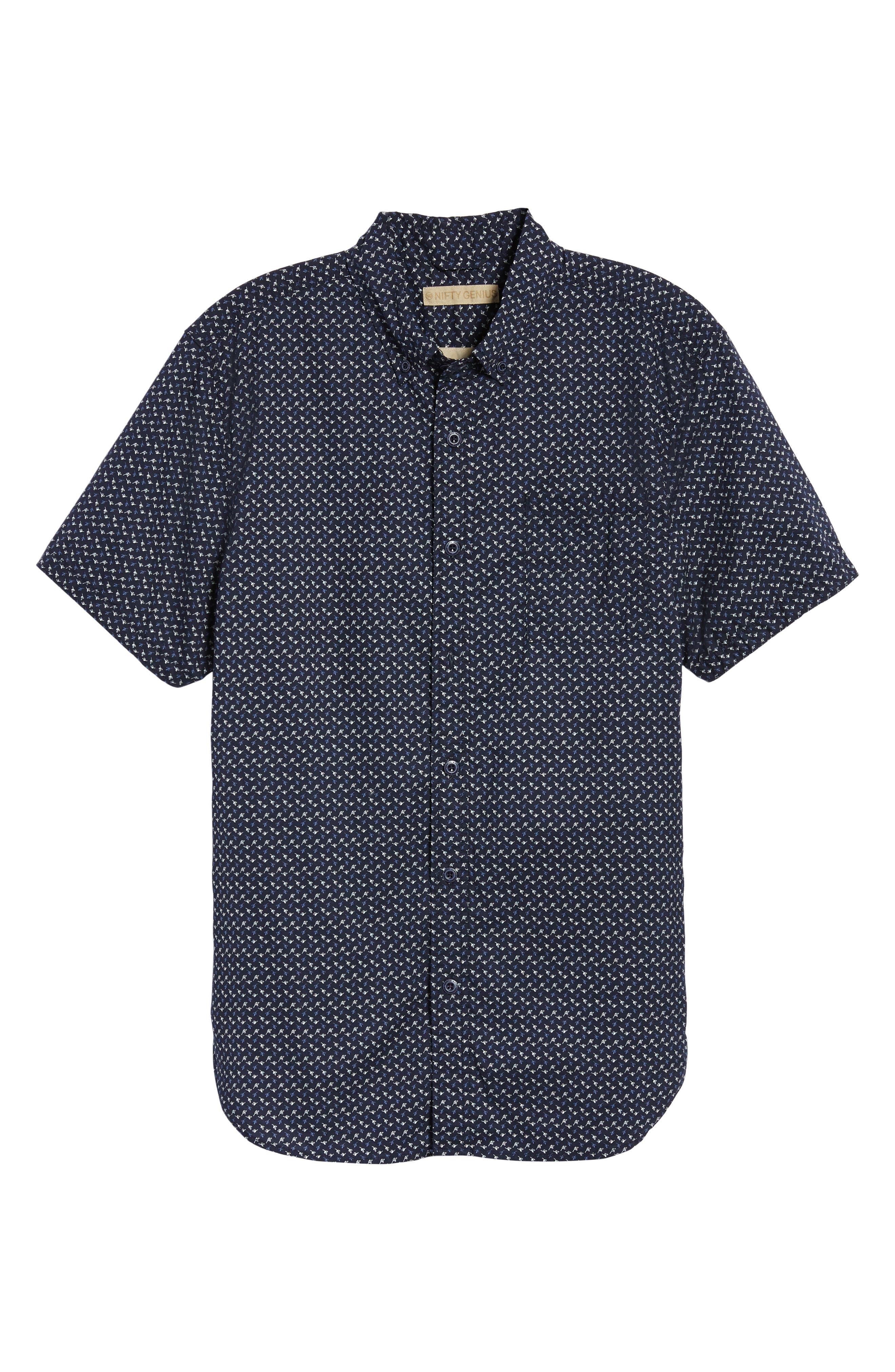 Truman Slim Fit Short Sleeve Sport Shirt,                             Alternate thumbnail 6, color,                             NAVY