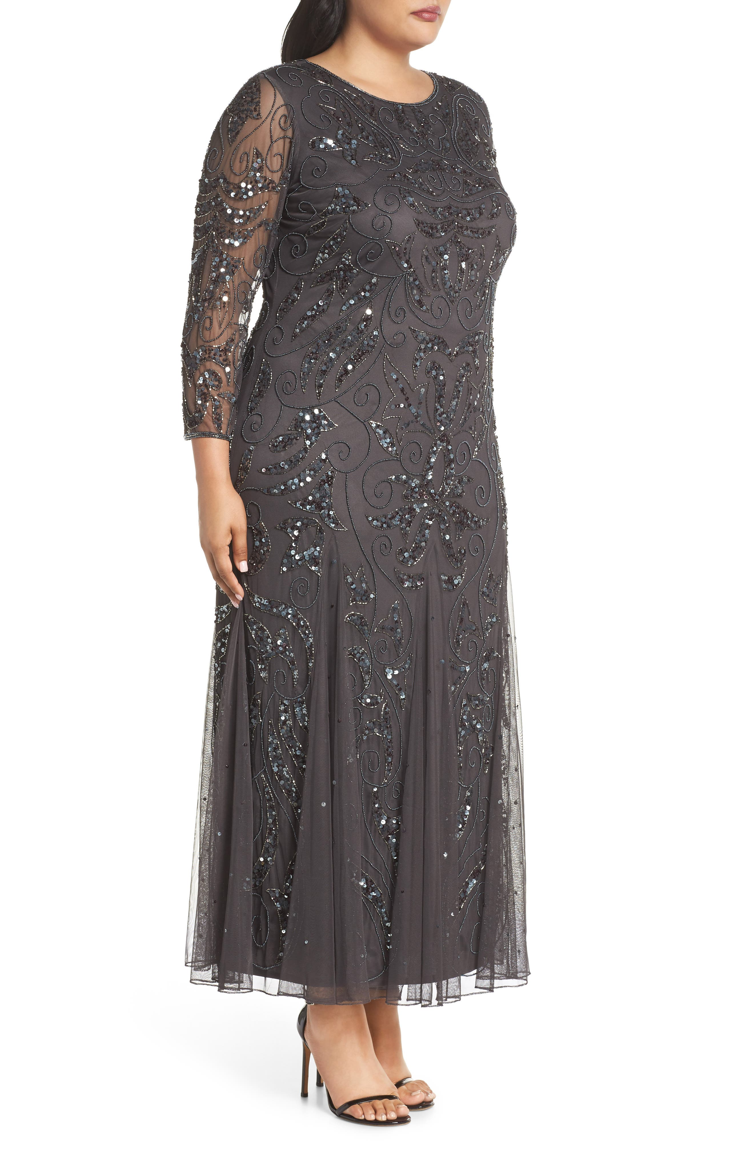Embellished Three Quarter Sleeve Gown,                             Alternate thumbnail 3, color,                             NEW ASH