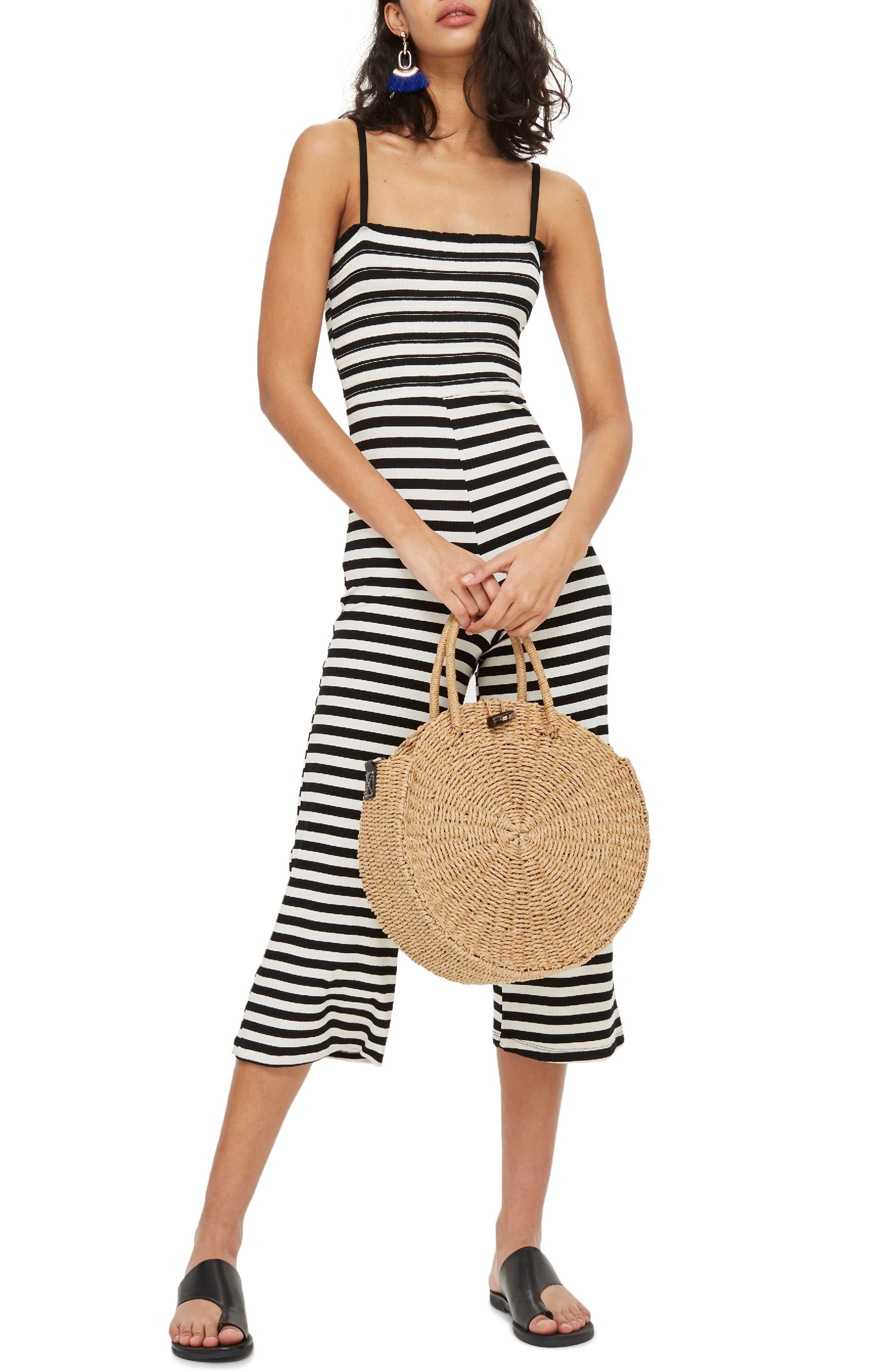 Shirred Top Stripe Jumpsuit,                             Main thumbnail 1, color,                             BLACK MULTI