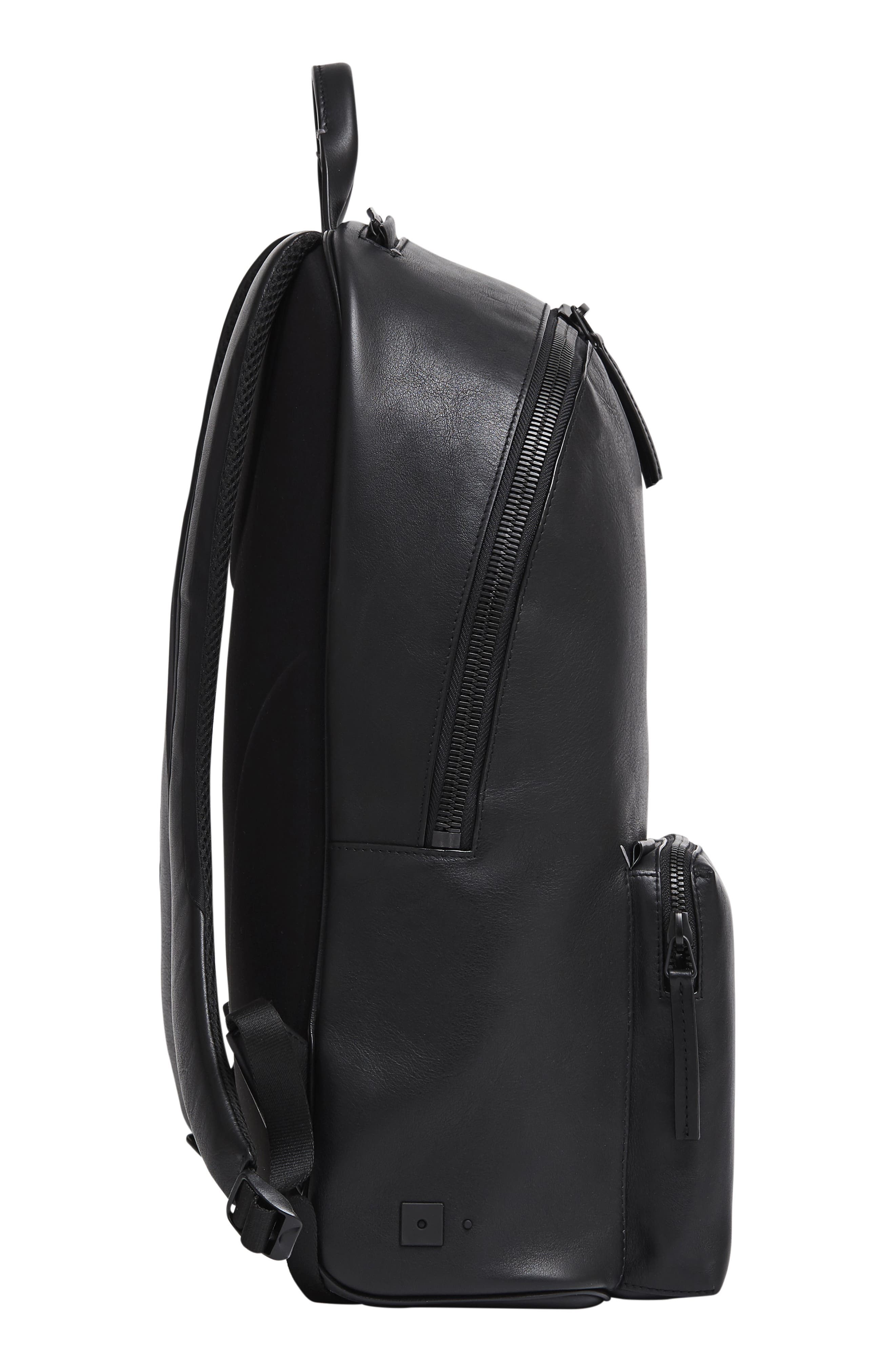 Leather Backpack,                             Alternate thumbnail 5, color,                             BLACK LEATHER