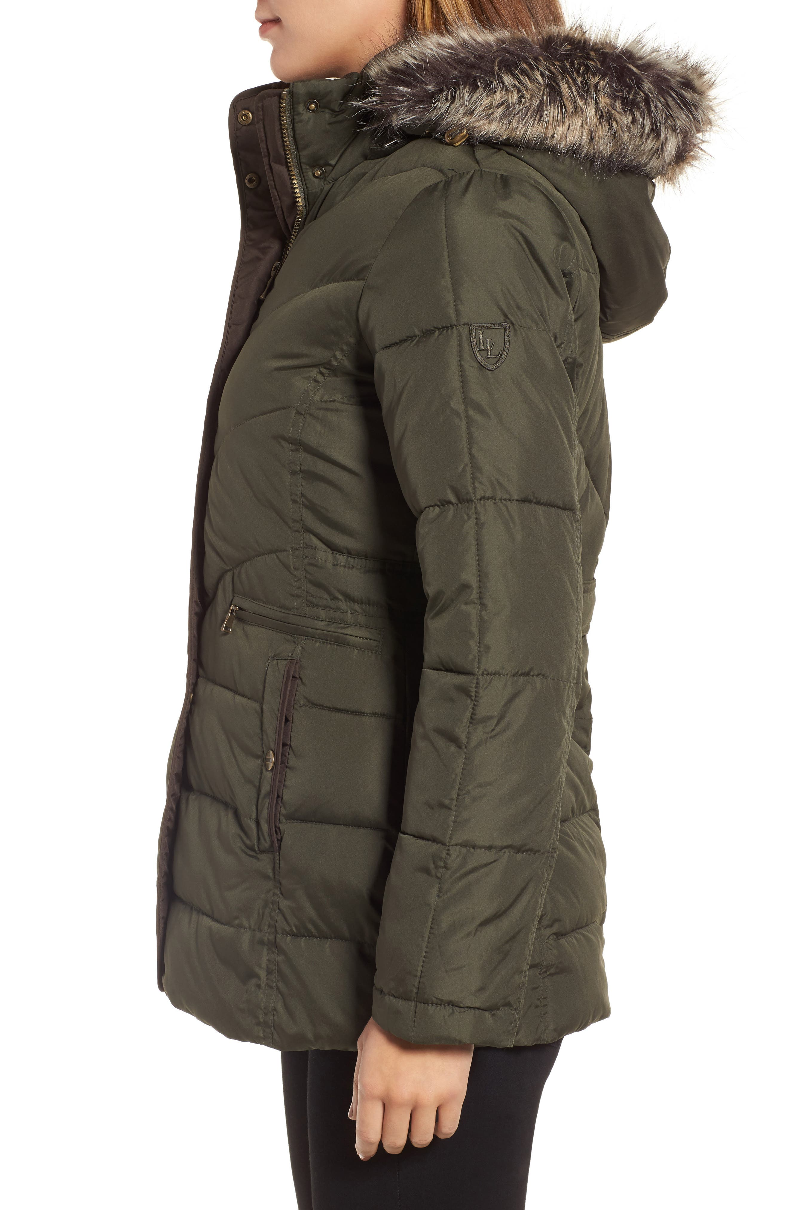 Quilted Coat with Faux Fur Trim,                             Alternate thumbnail 3, color,                             312