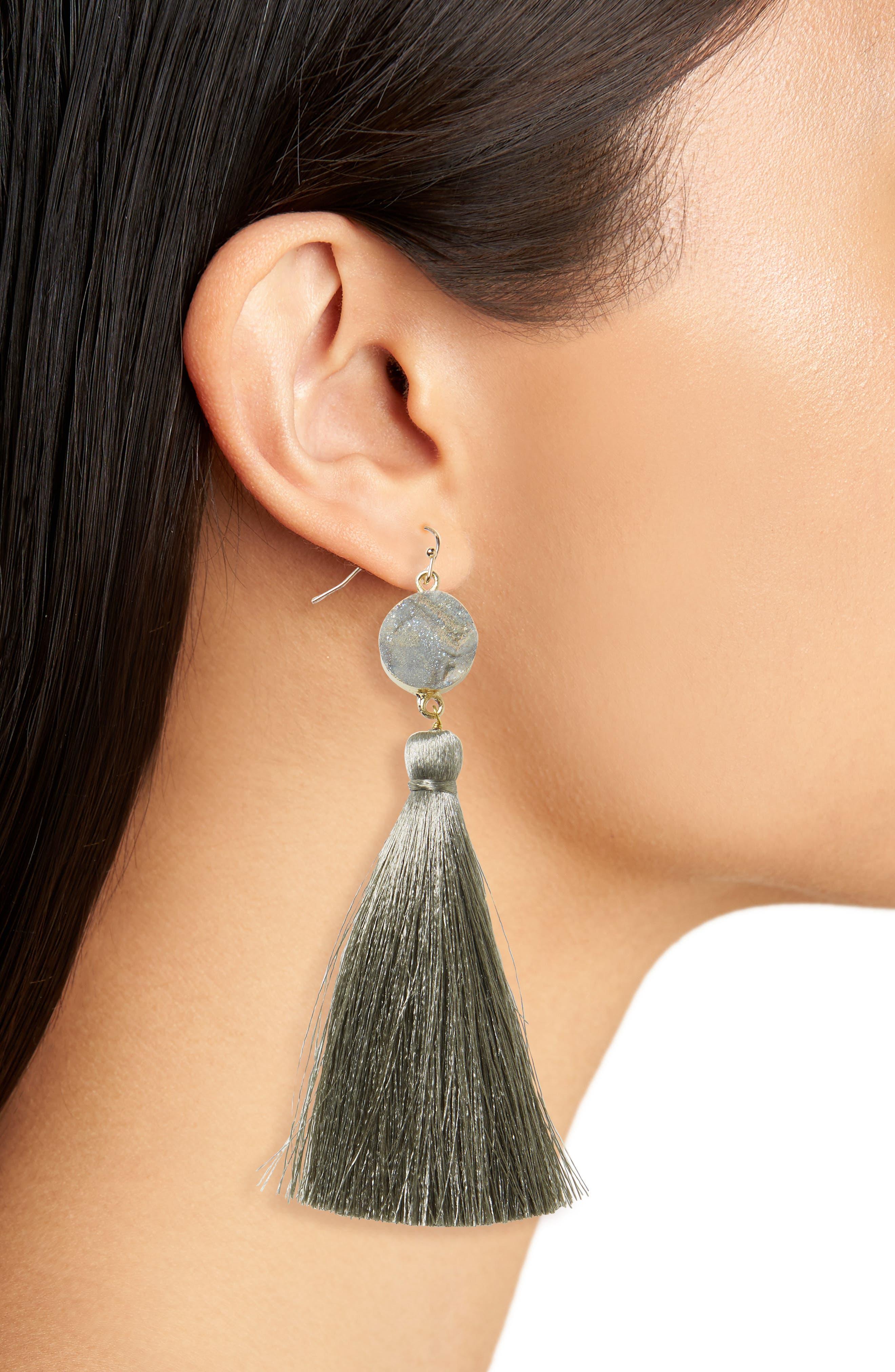 Sunstone Drusy Tassel Earrings,                             Alternate thumbnail 2, color,