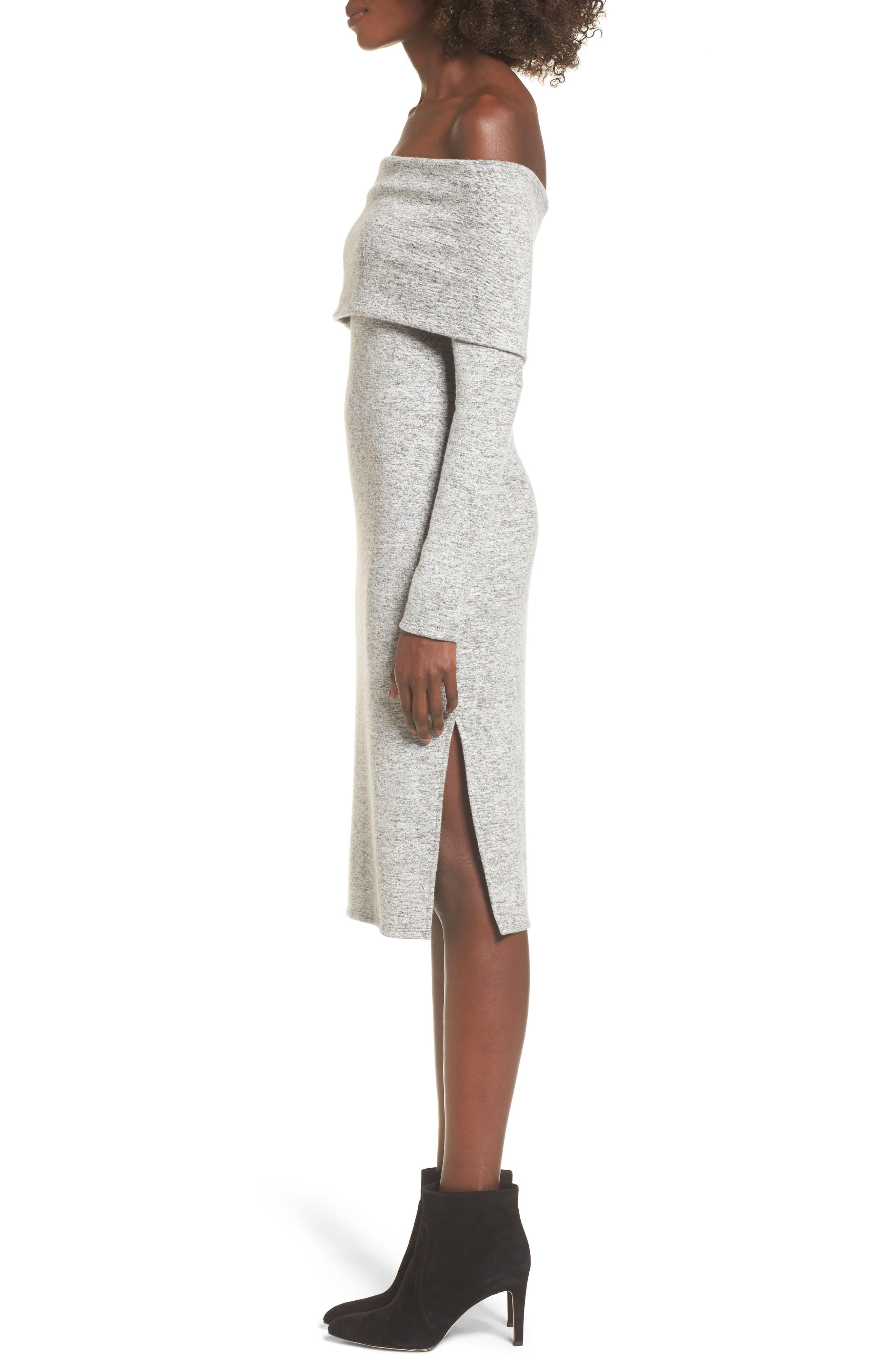 Off the Shoulder Sweater Dress,                             Alternate thumbnail 3, color,                             H GREY