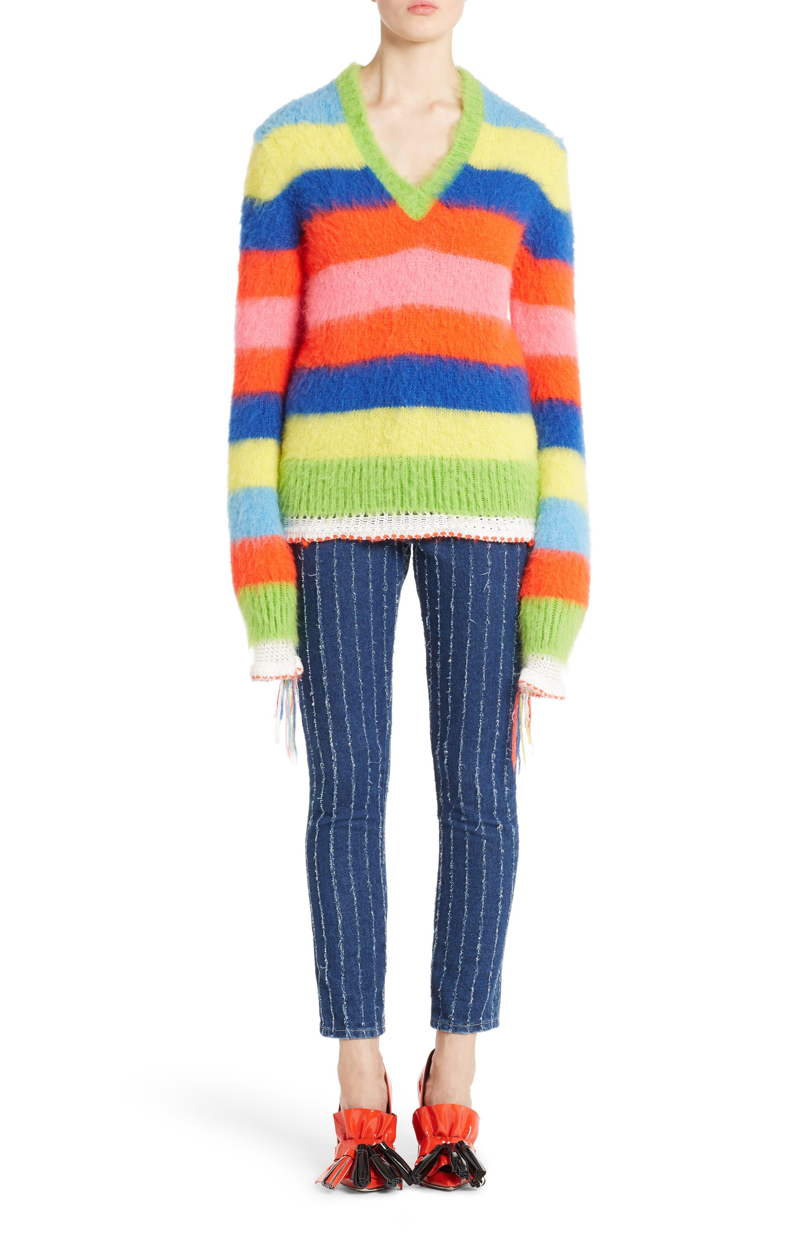 Multi Stripe Sweater,                             Alternate thumbnail 6, color,                             020