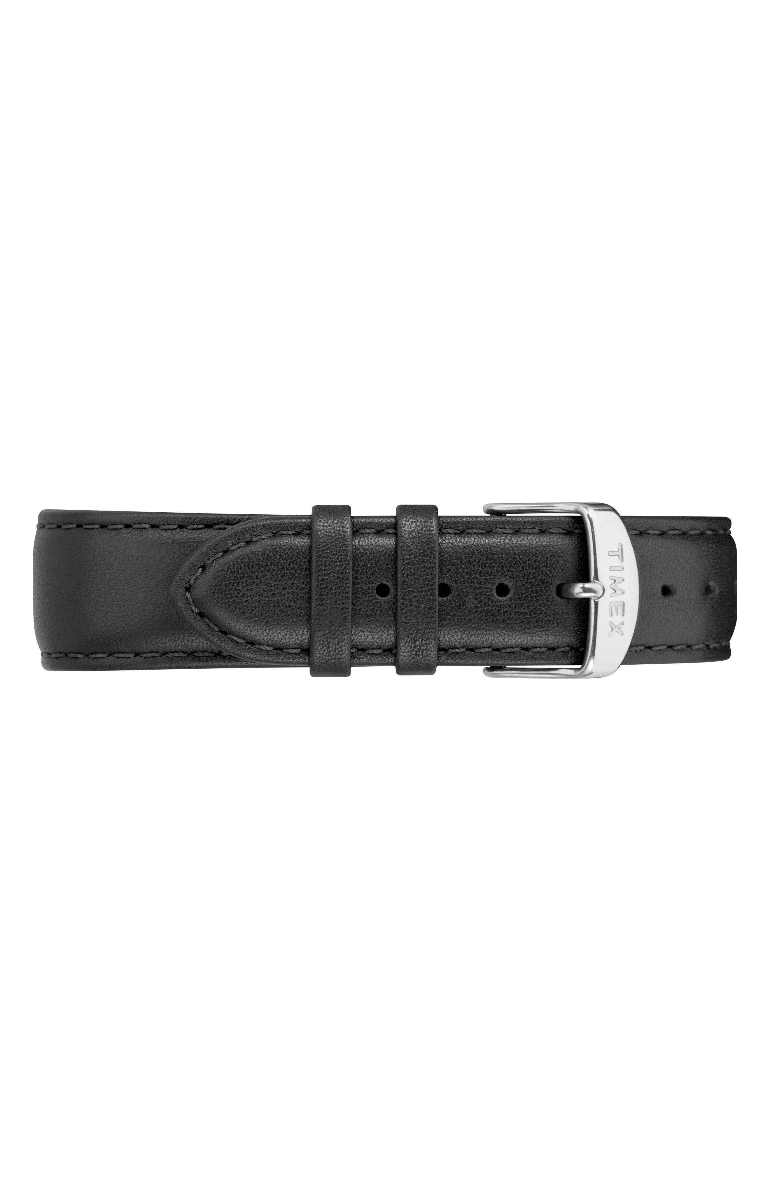 TIMEX<SUP>®</SUP>,                             Fairfield Leather Strap Watch, 41mm,                             Alternate thumbnail 3, color,                             007