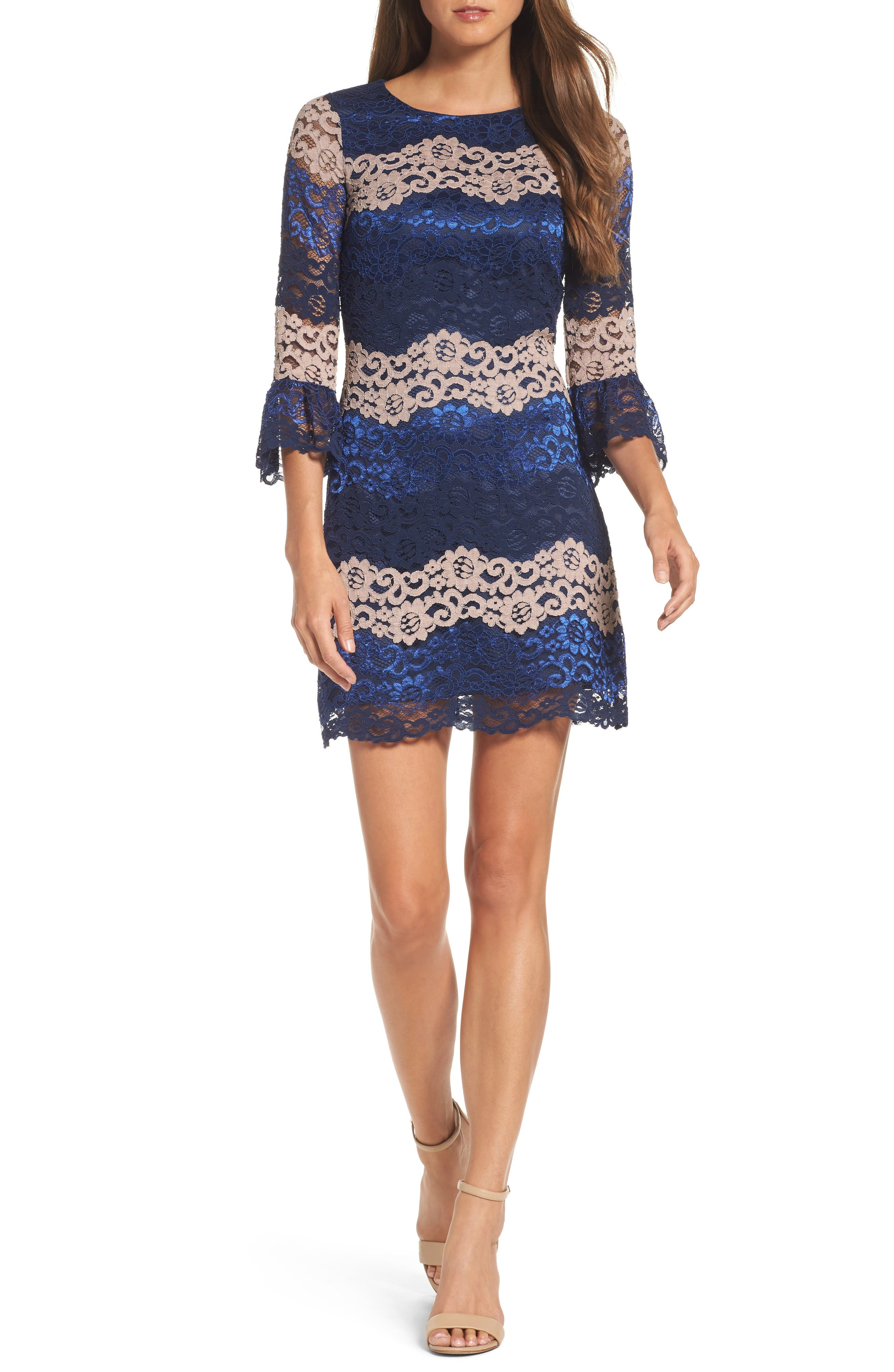 Lace Bell Sleeve Dress,                             Main thumbnail 2, color,
