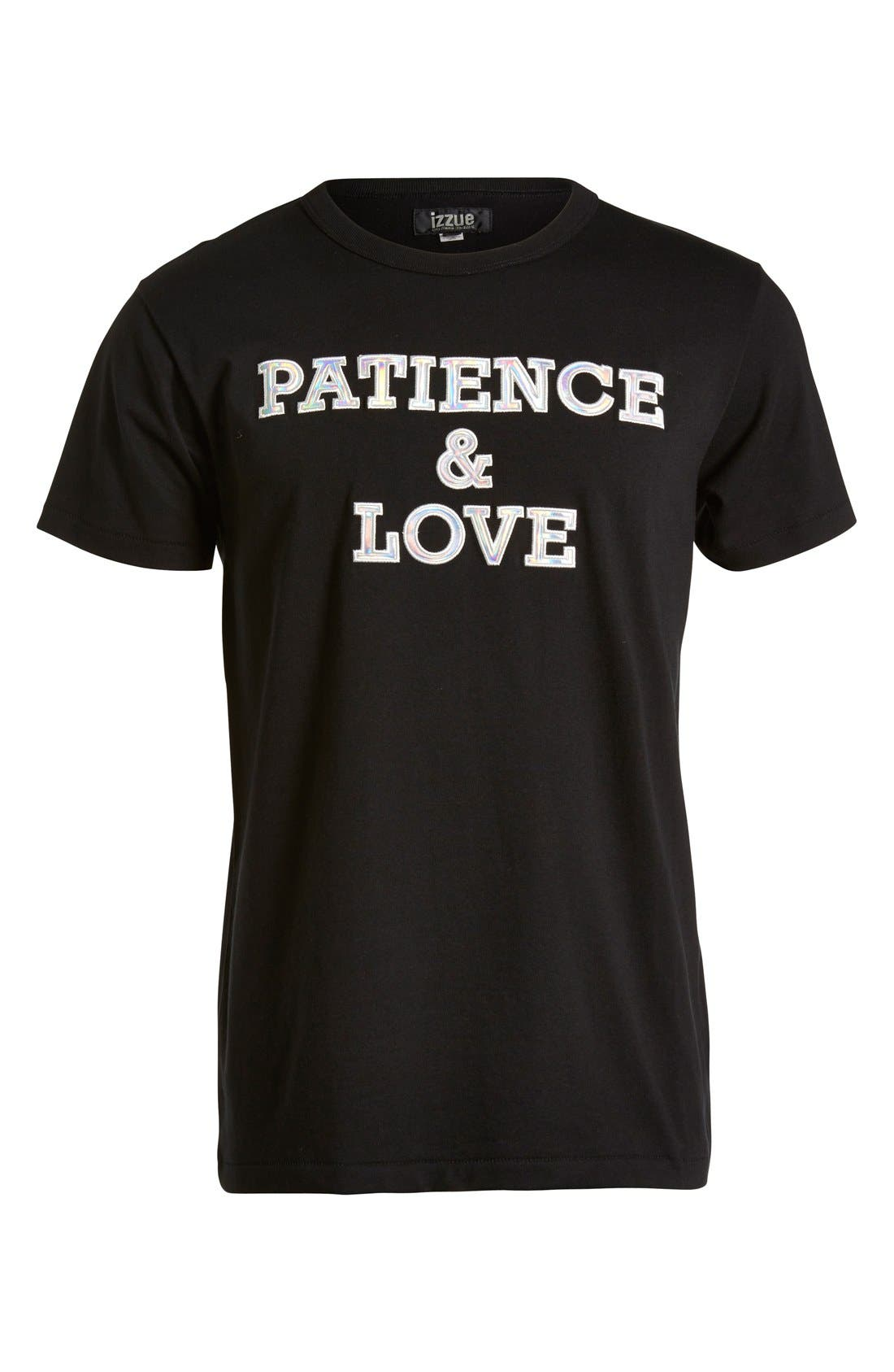 'Patience & Love' Iridescent Graphic T-Shirt,                             Main thumbnail 1, color,                             001