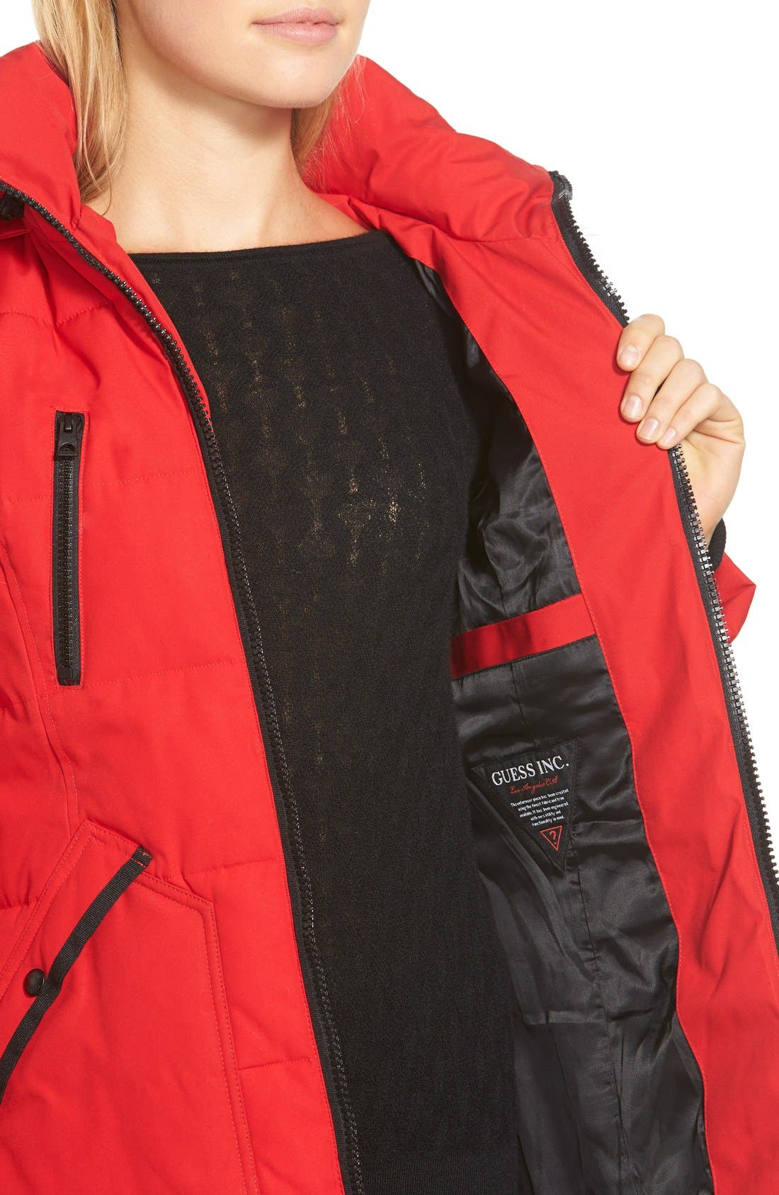 'Expedition' Quilted Parka with Faux Fur Trim,                             Alternate thumbnail 4, color,                             648