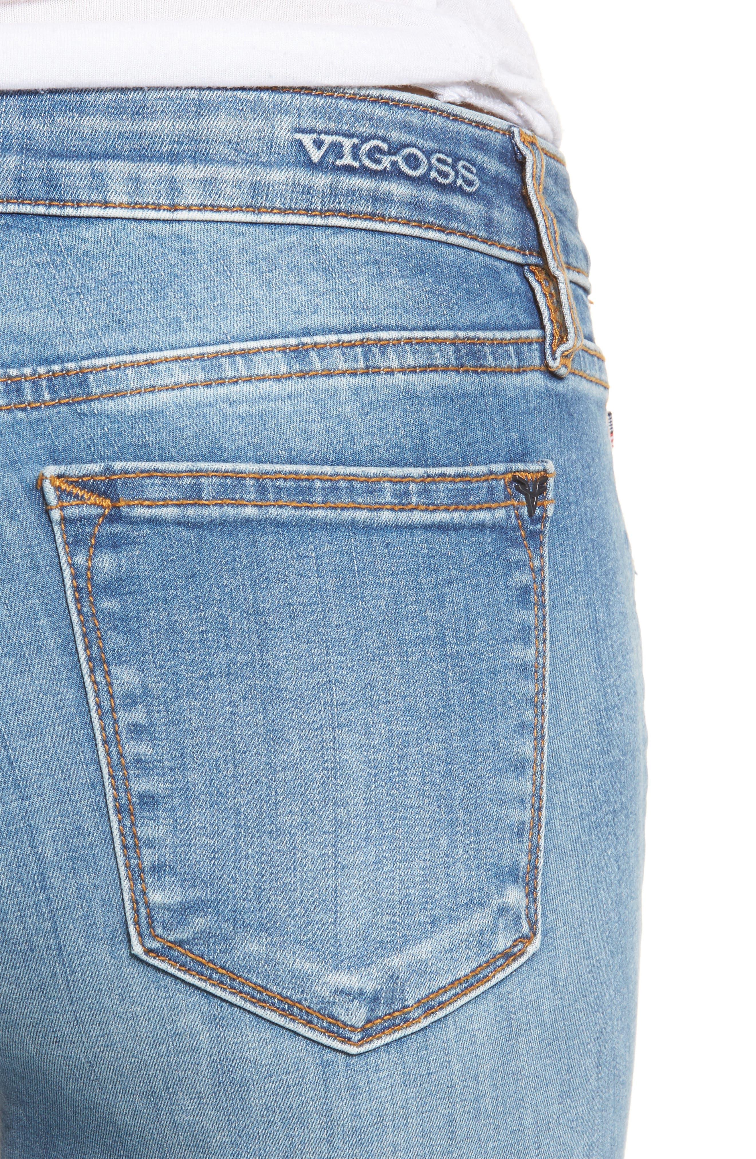 Edie Distressed Skinny Jeans,                             Alternate thumbnail 4, color,                             461