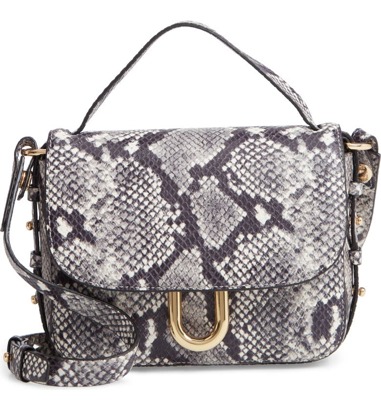 Harper Snake Embossed Leather Crossbody Bag, Main, color, GREYSCALE SHINE