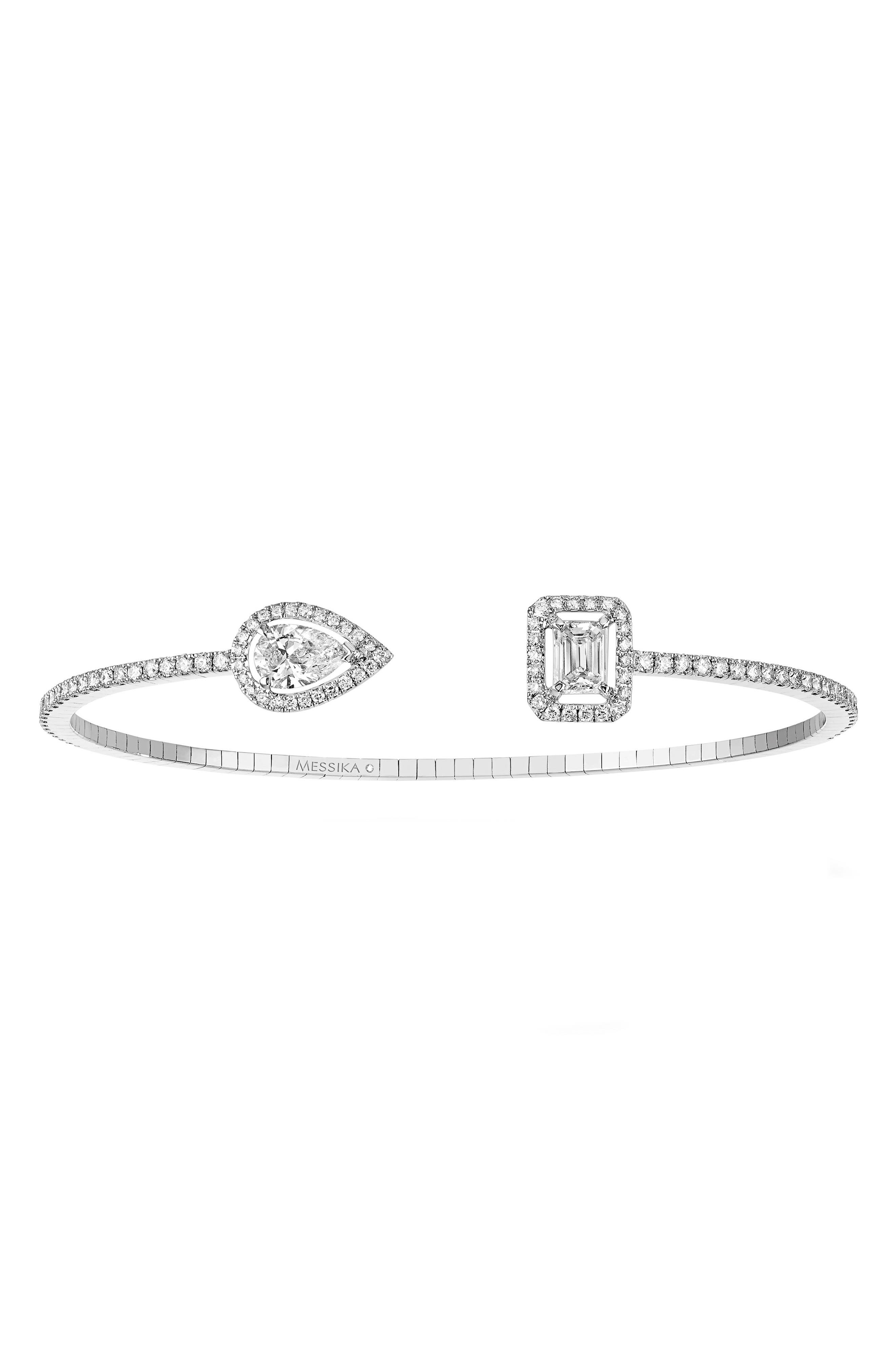 My Twin Open Diamond Cuff Bracelet,                             Main thumbnail 1, color,                             WHITE GOLD