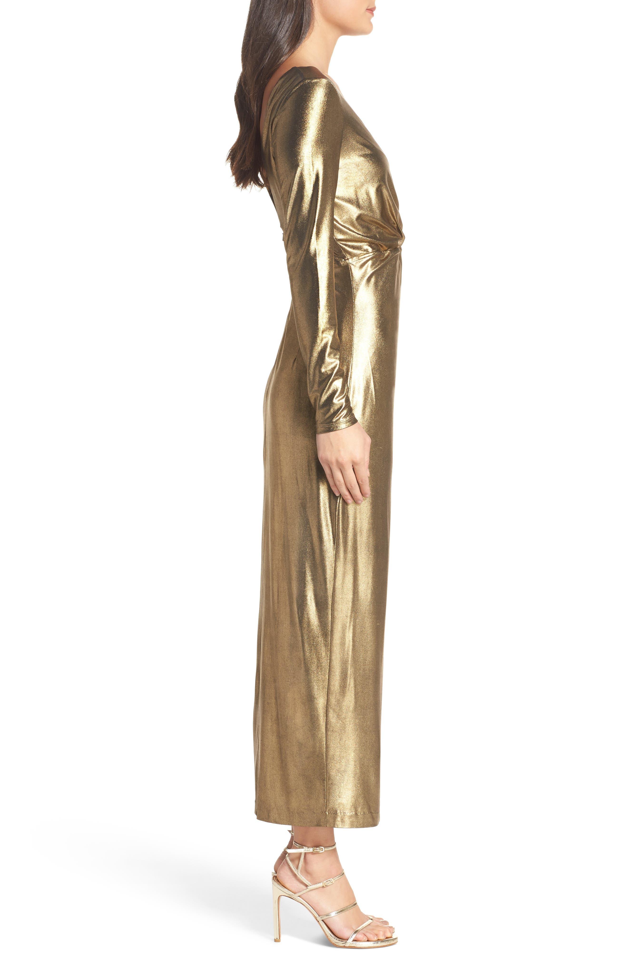 Aurel Metallic Dress,                             Alternate thumbnail 3, color,