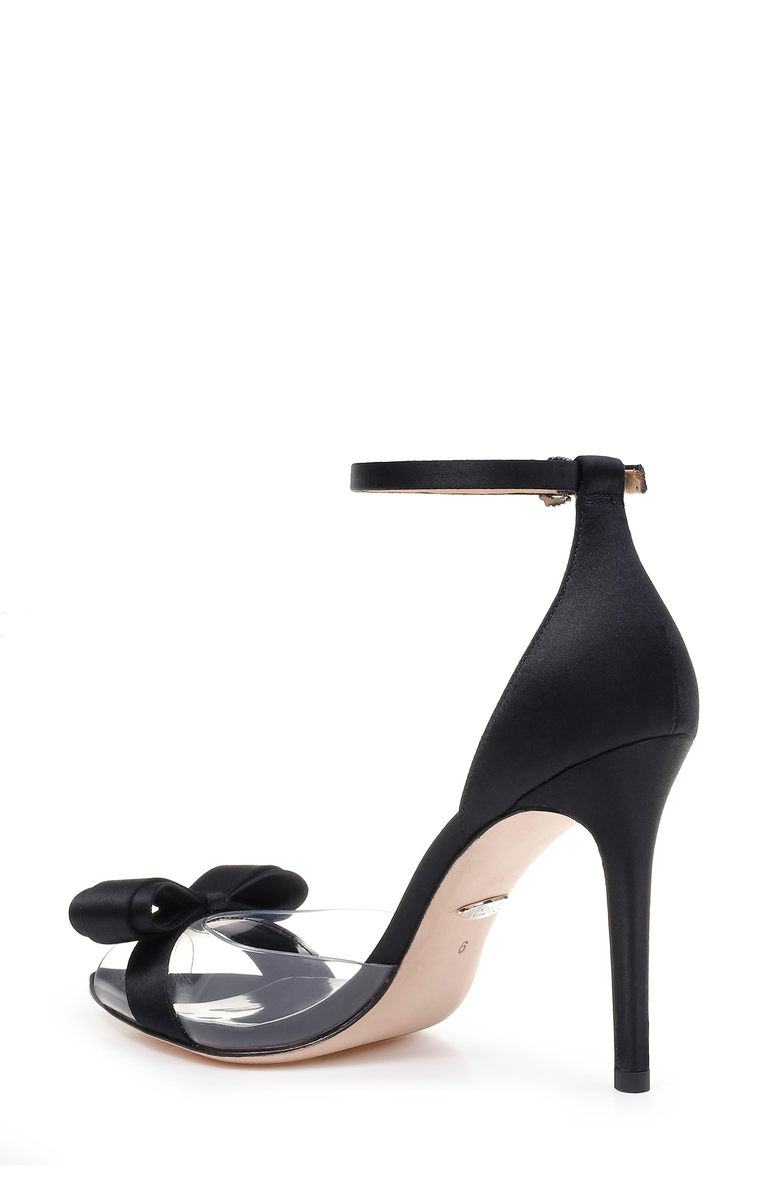 BADGLEY MISCHKA COLLECTION,                             Badgley Mischka Lindsay Ankle Strap Sandal,                             Alternate thumbnail 2, color,                             BLACK SATIN