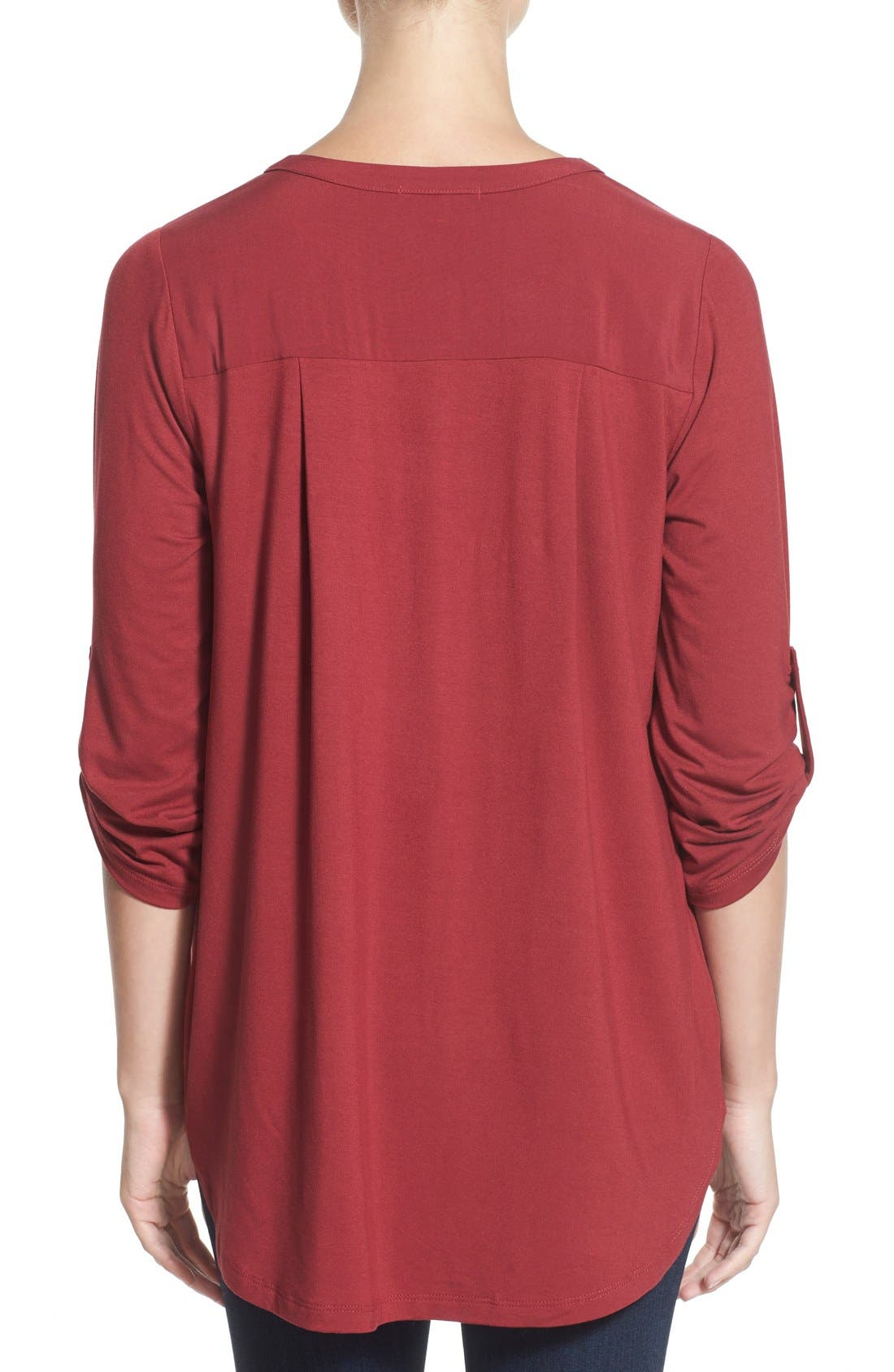 Mixed Media V-Neck Tunic,                             Alternate thumbnail 200, color,