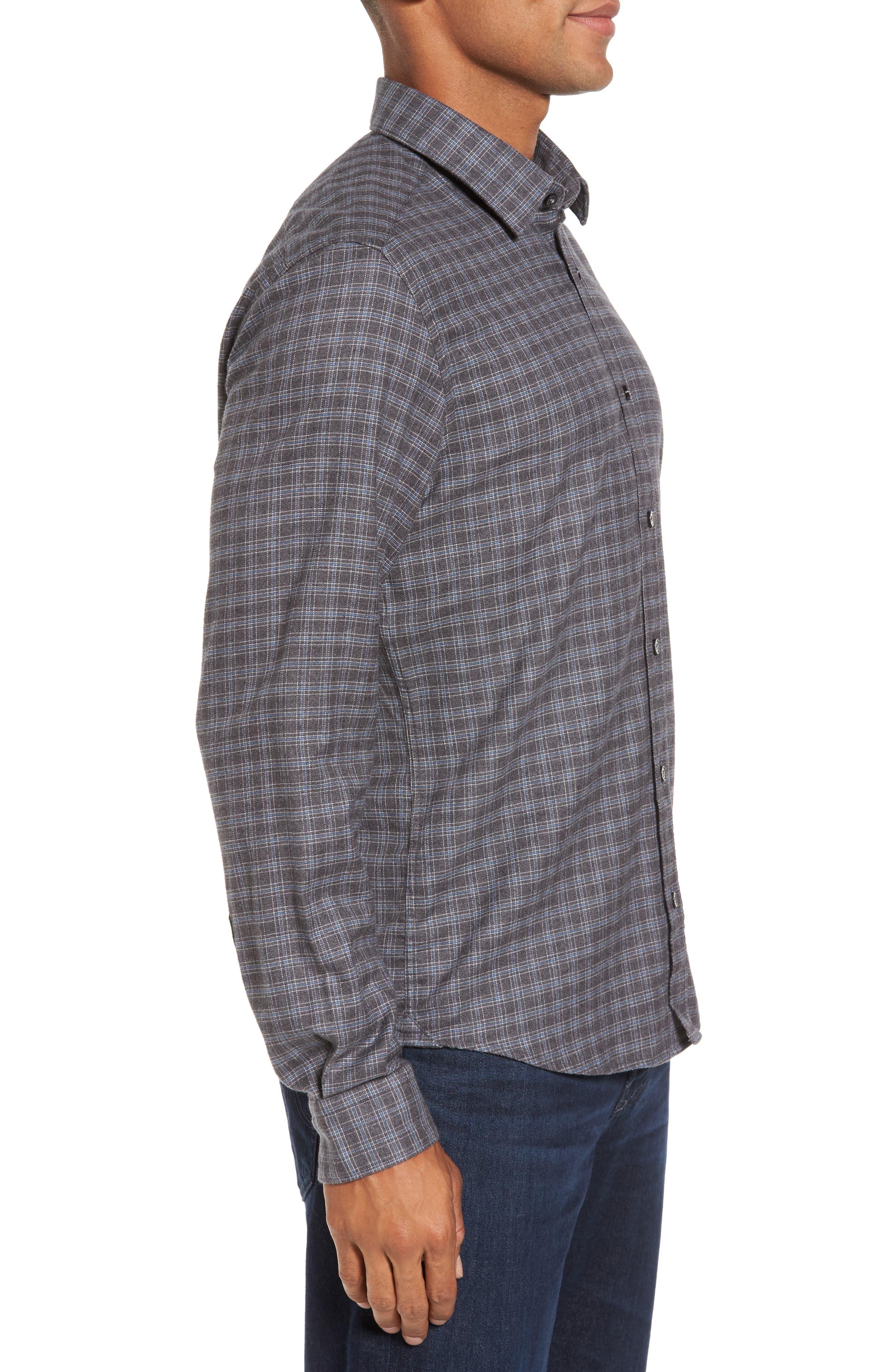 Lance Slim Fit Flannel Sport Shirt,                             Alternate thumbnail 3, color,                             030