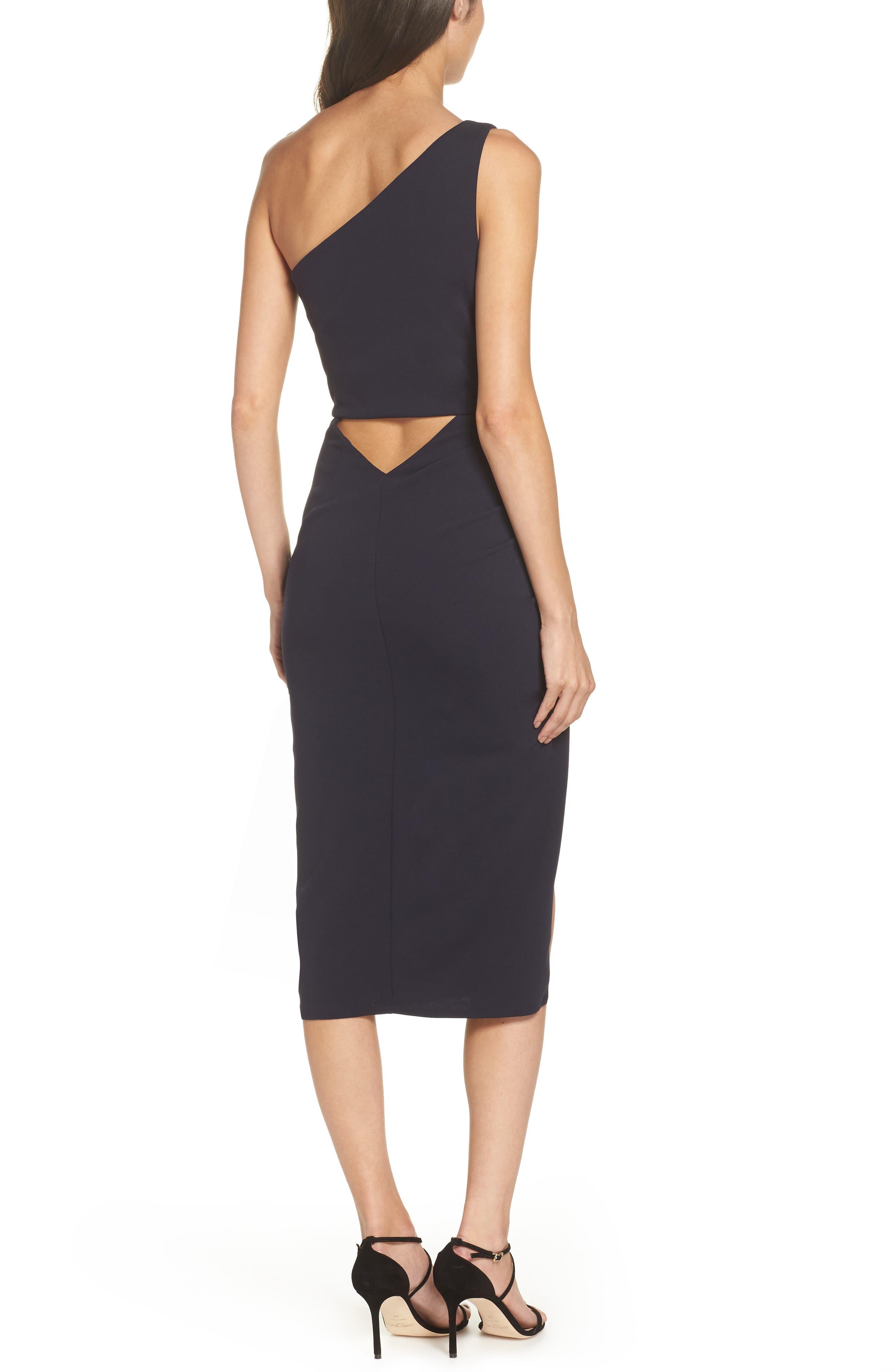 One-Shoulder Crepe Dress,                             Alternate thumbnail 2, color,                             NAVY