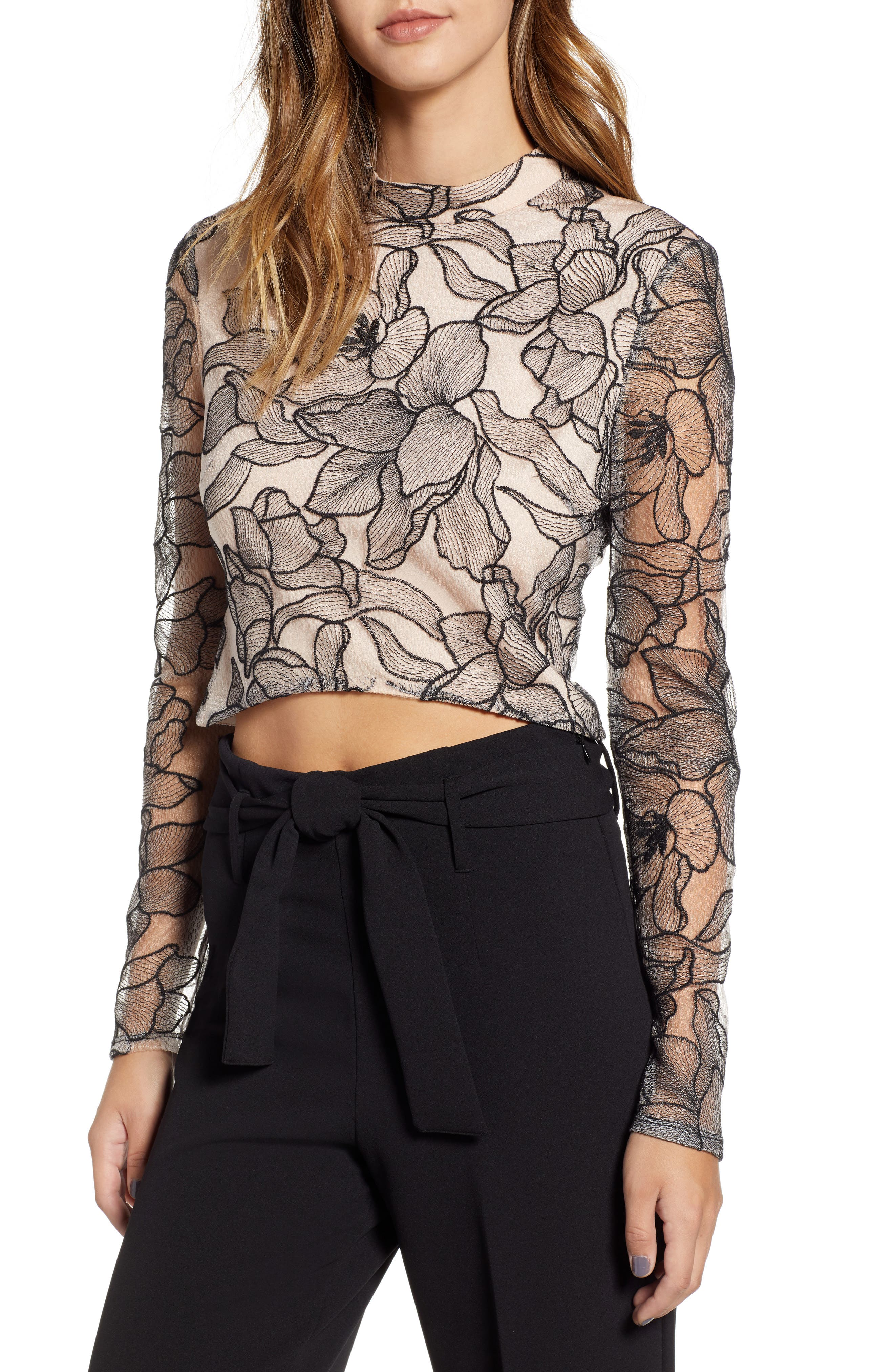 Mina Cropped Lace Top,                             Main thumbnail 1, color,                             BLACK NUDE LACE