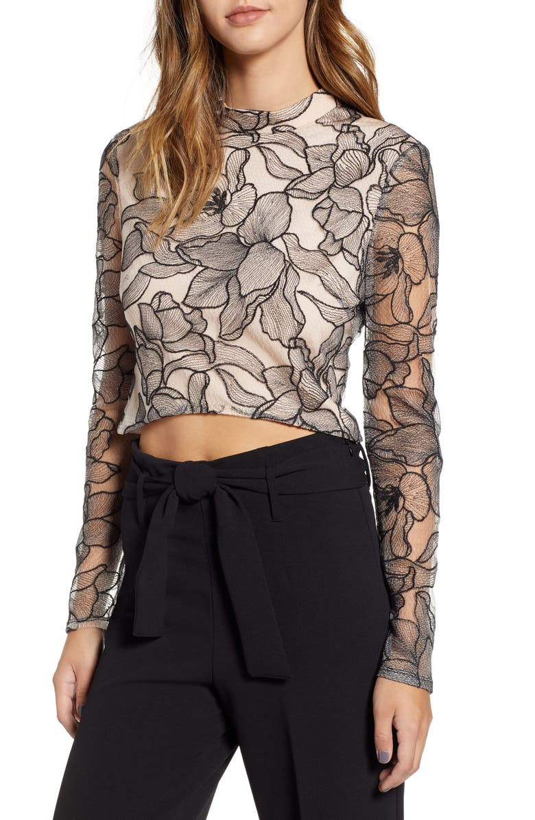 c240fd8ccba WAYF Mina Cropped Lace Top