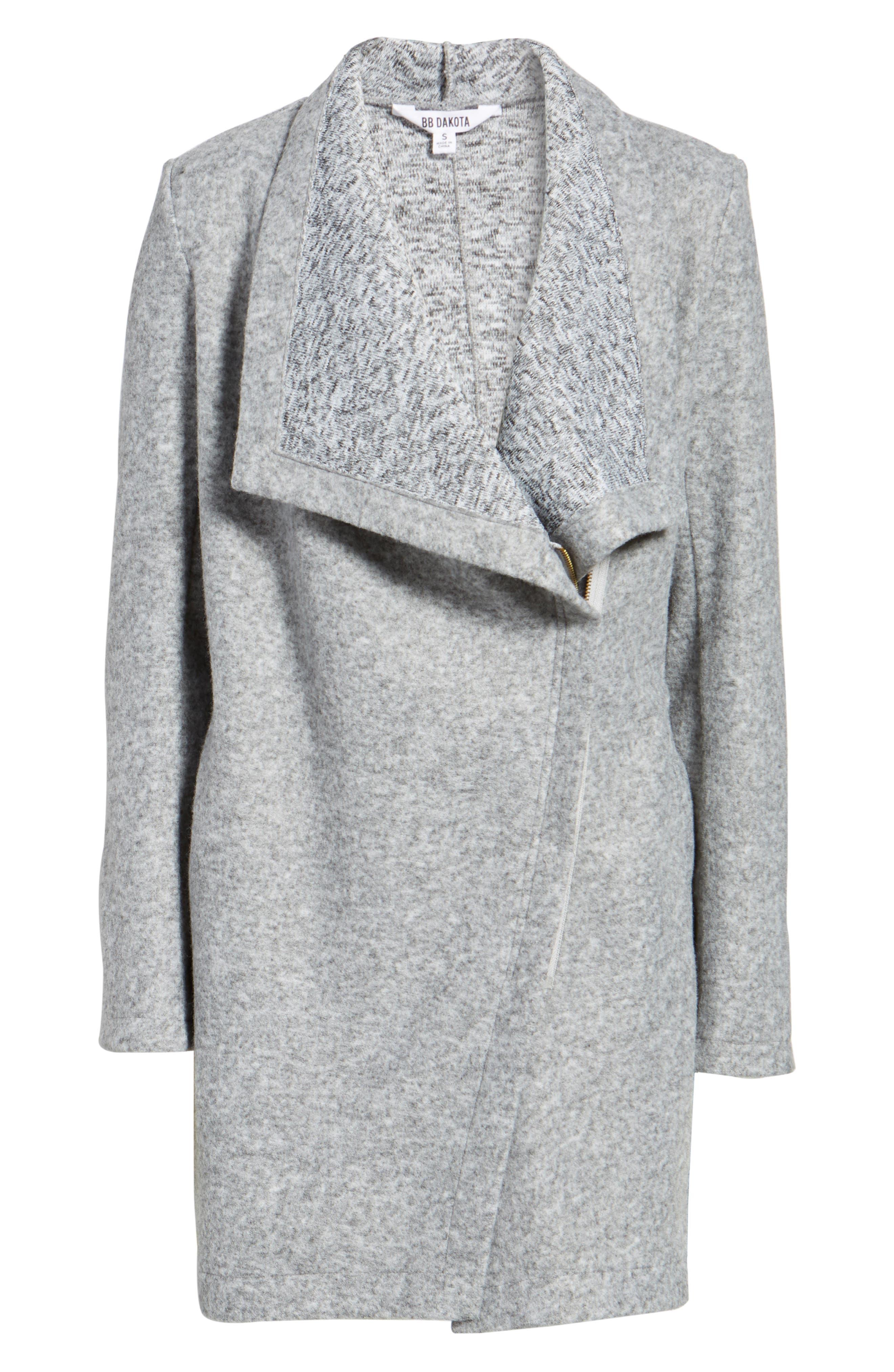 Maggie Brushed Fleece Drape Collar Coat,                             Alternate thumbnail 4, color,
