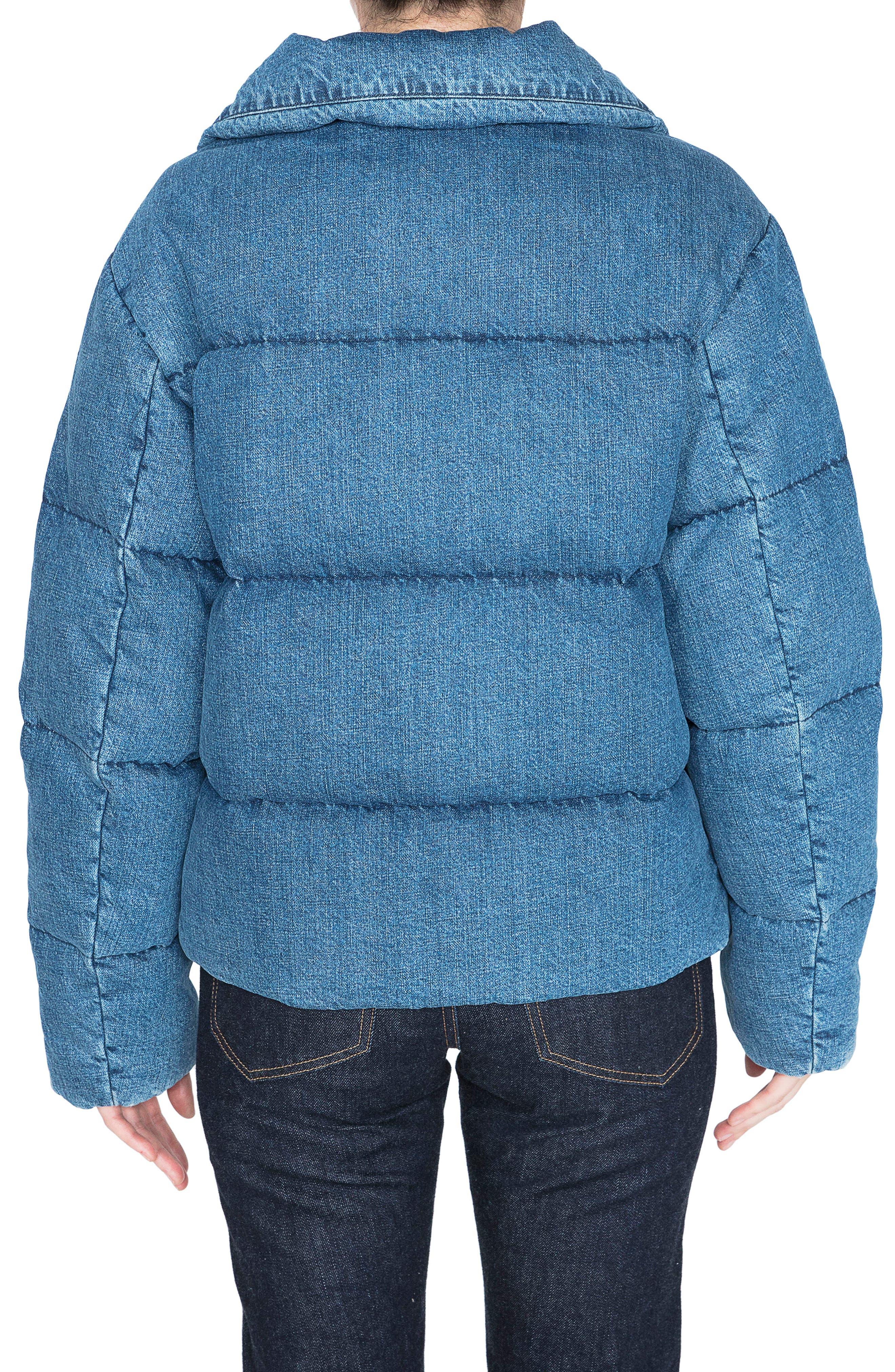 Denim Down Puffer Jacket,                             Alternate thumbnail 2, color,                             BLUE