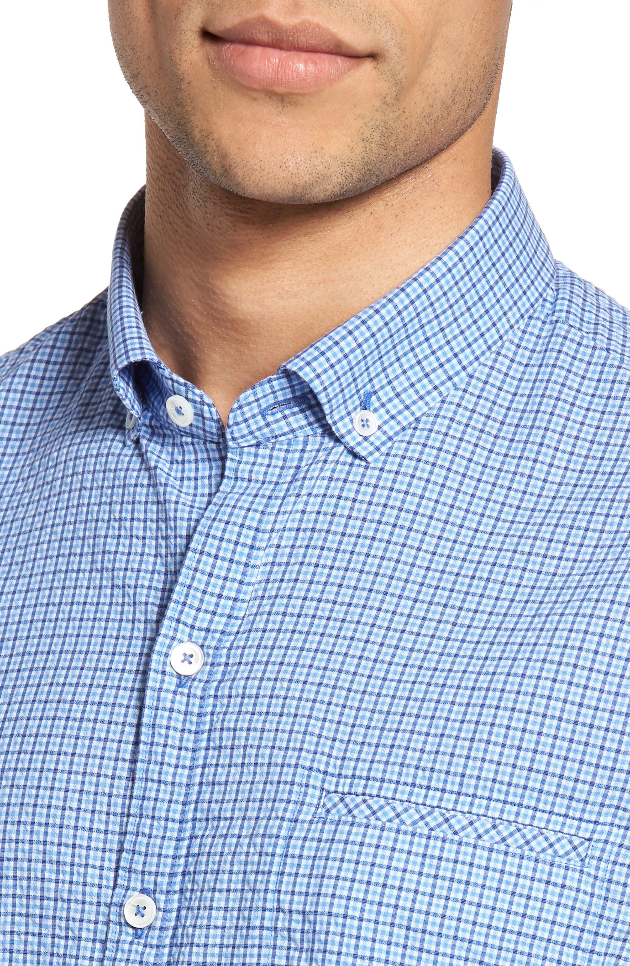 Billy Trim Fit Plaid Sport Shirt,                             Alternate thumbnail 4, color,                             422