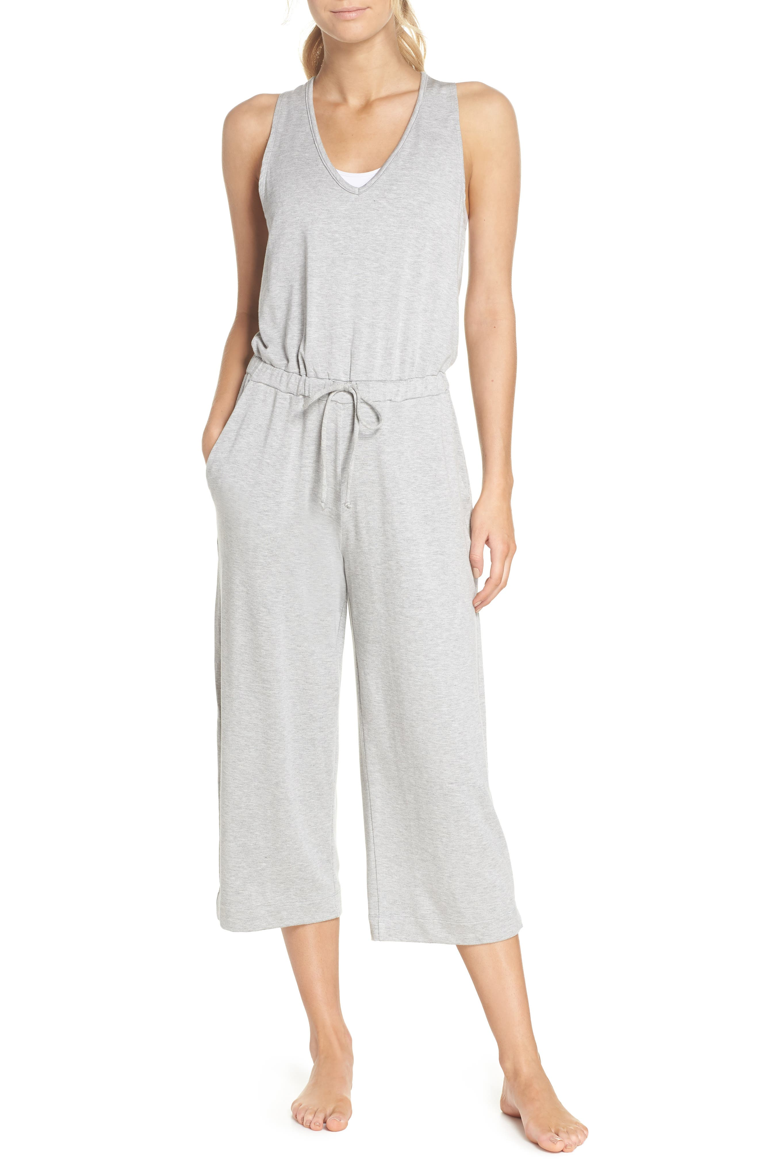Farrah Cropped Jumpsuit,                         Main,                         color, LIGHT HEATHER GRAY